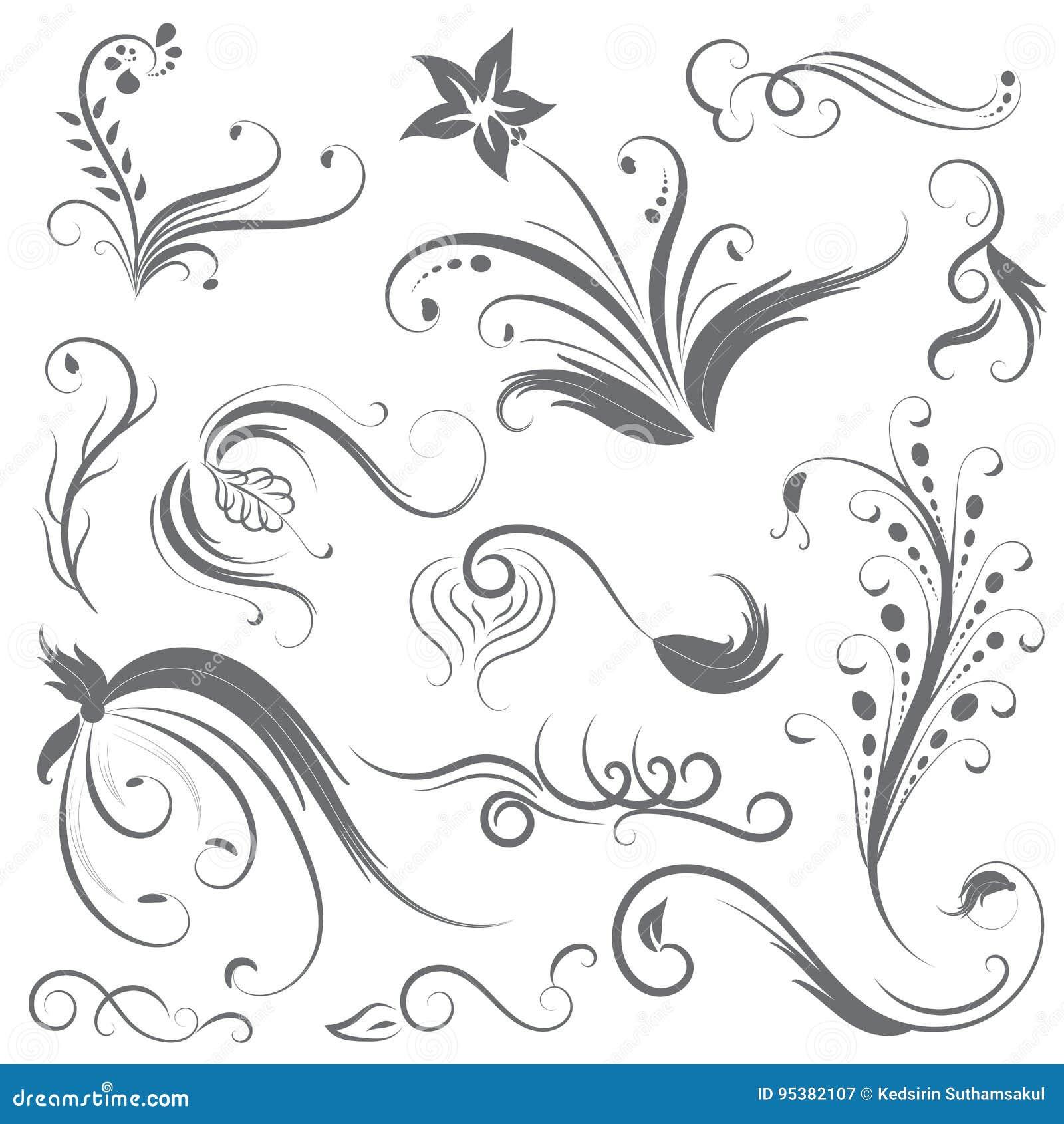 Set Of Black Flower Design Elements Stock Vector: Set Of Flower Calligraphic Design Stock Vector