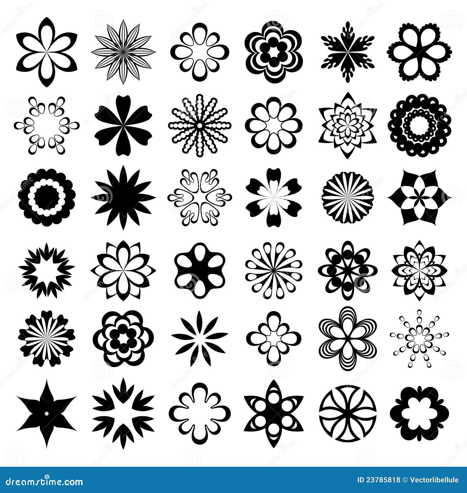 Set Of Black Flower Design Elements Stock Vector: Set Of Black Flower Design Elements Cartoon Vector