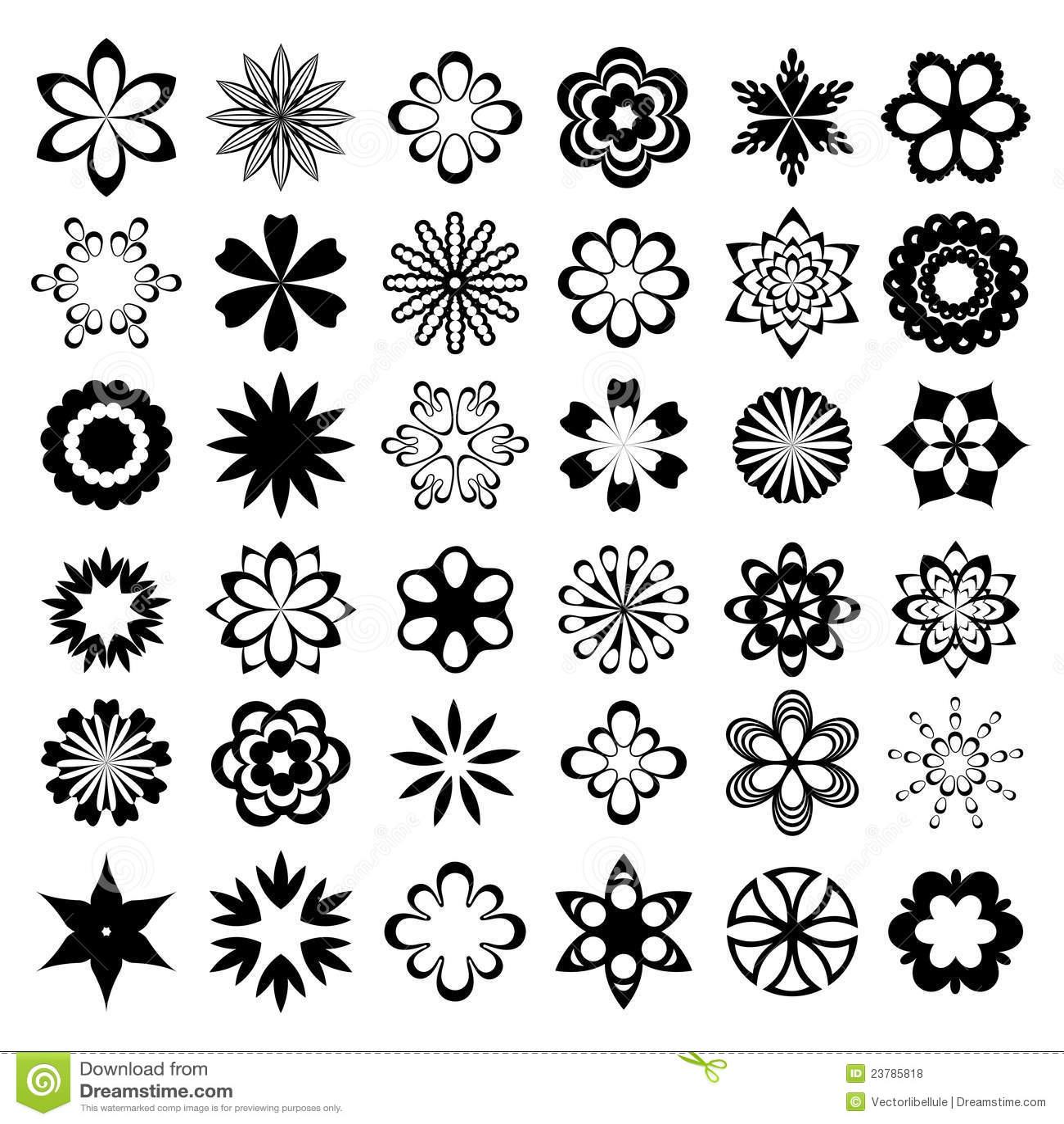 Set Of Black Flower Design Elements Vector Illustration: Set Of Black Flower Design Elements Cartoon Vector