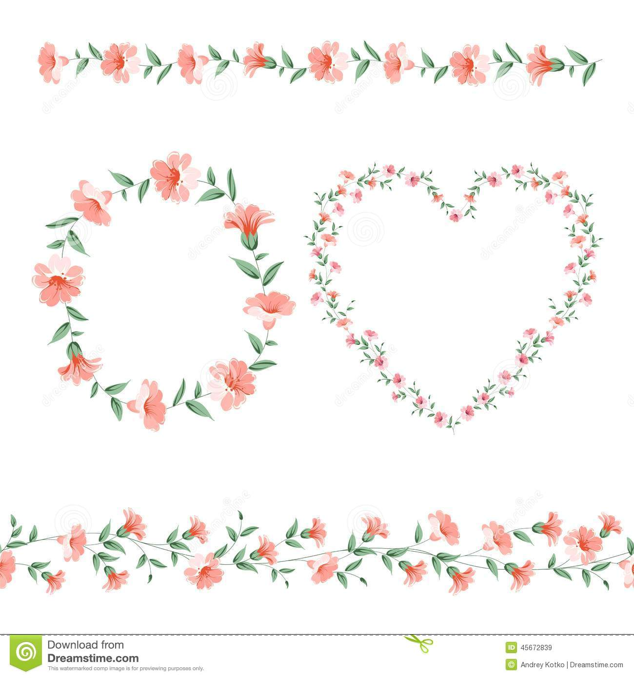 Set Of Flower Frames Stock Vector - Image: 45672839