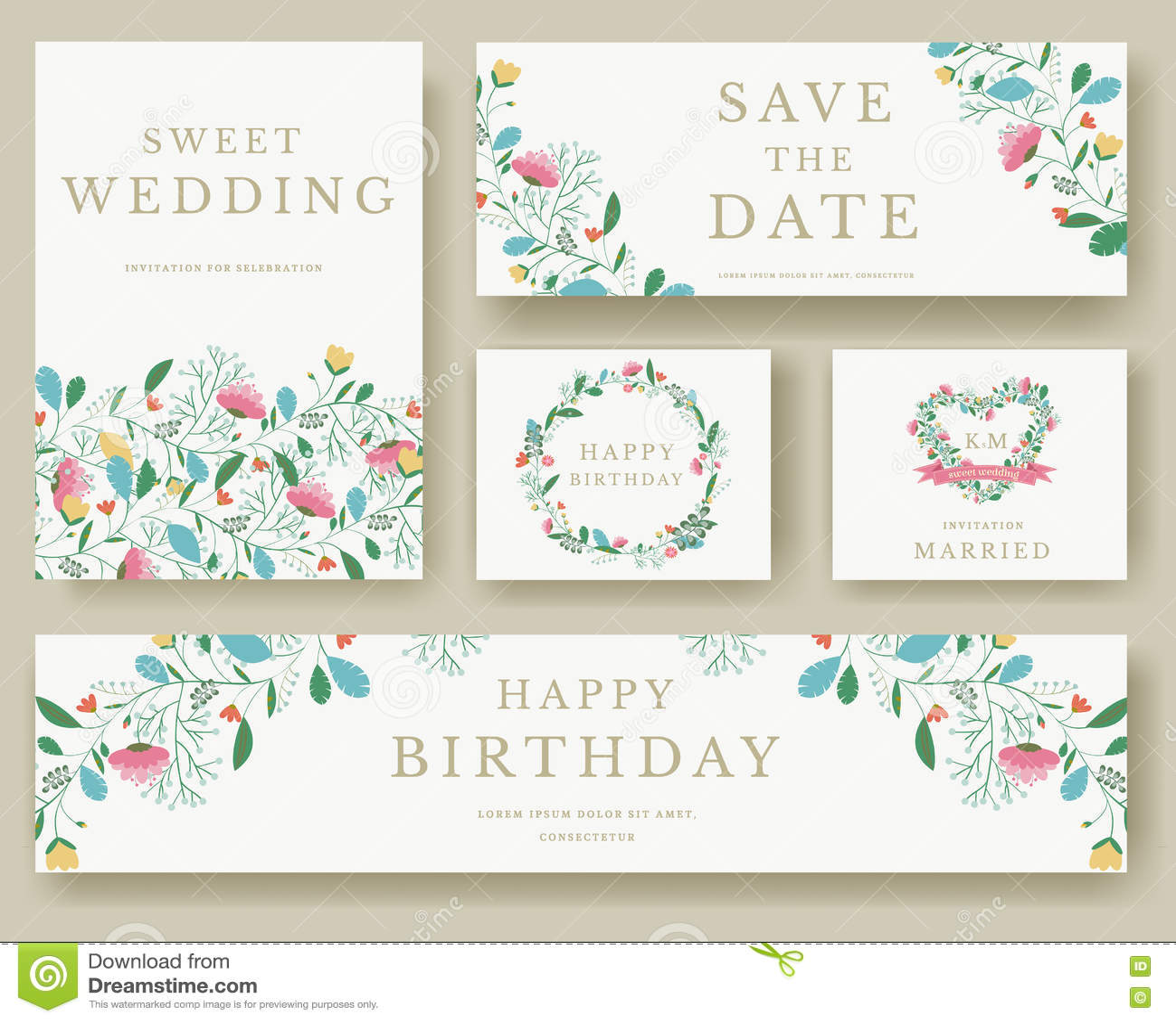 Flowers Vector Design Wedding Invitations Wedding: Set Of Flower Invitation Cards. Colorful Greeting Wedding