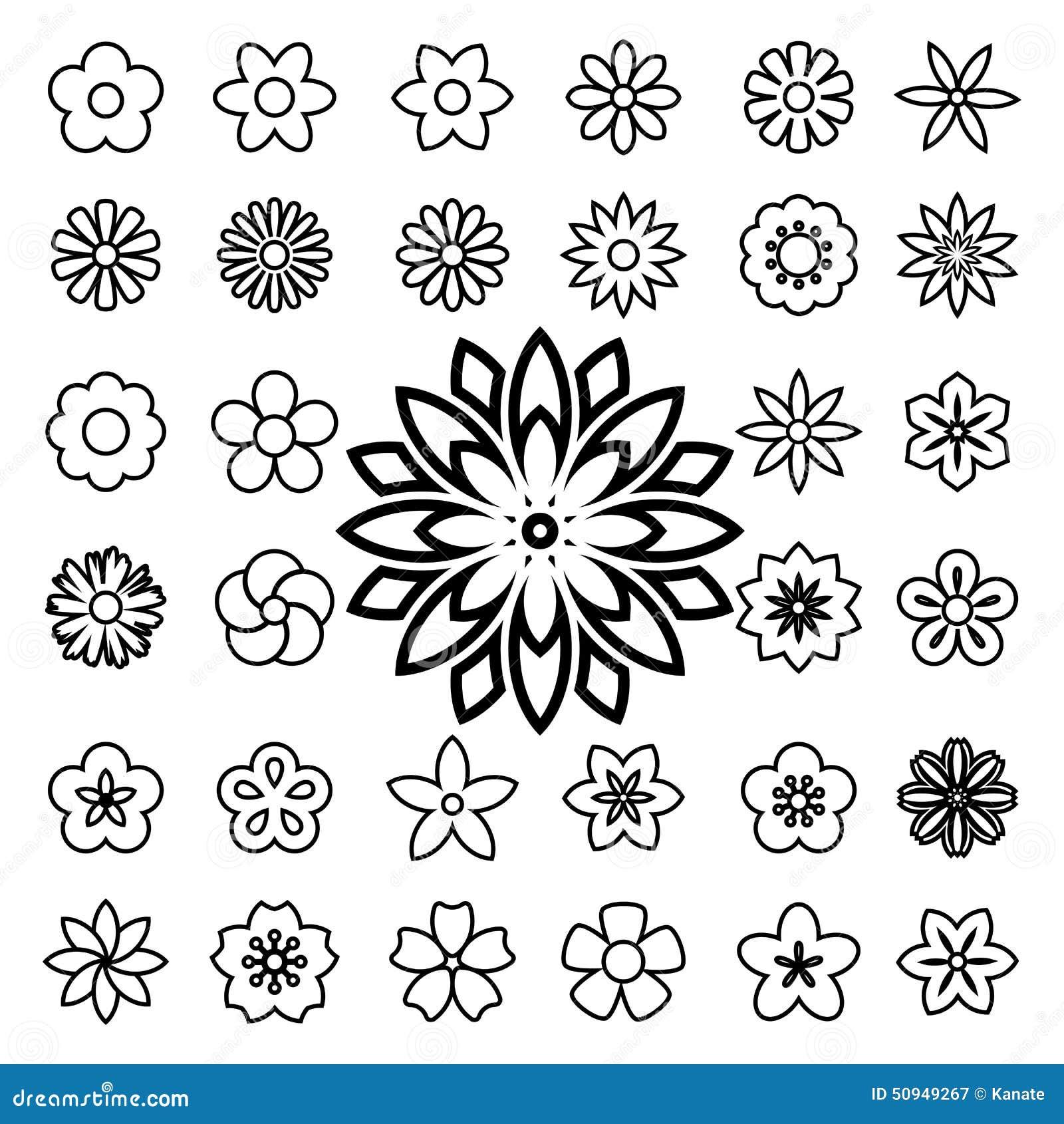 Line Art Flowers Vector : Set of flower line icons stock vector illustration