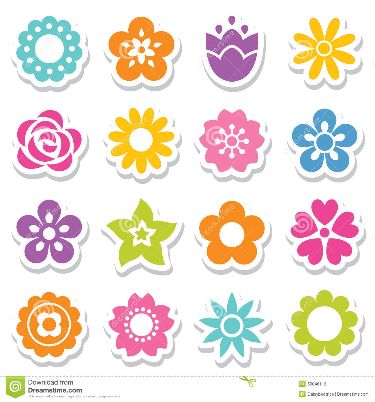 Set Of Flower Stickers In Bright Colors Stock Vector Image 50046113