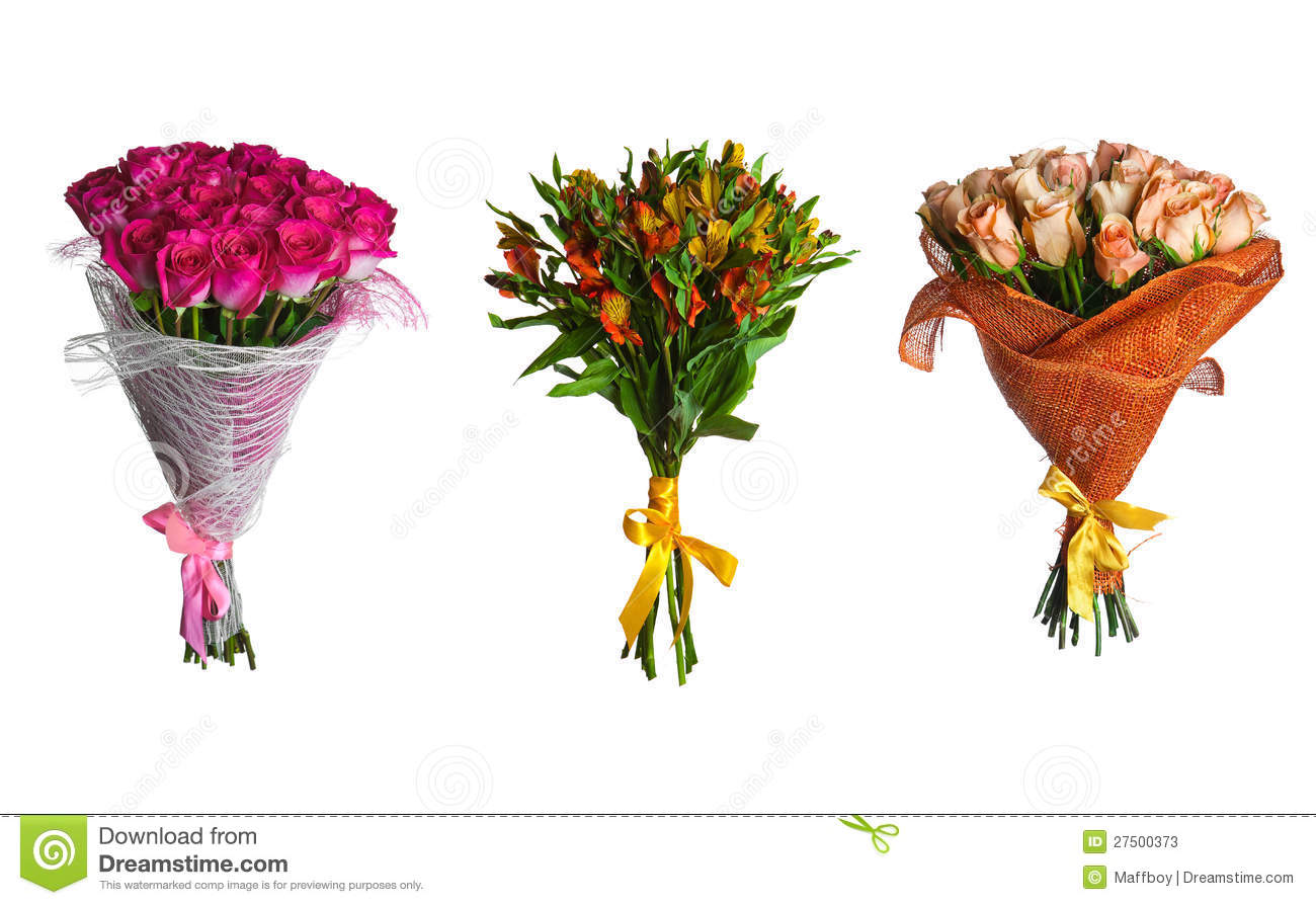 Set flowers bouquet isolated