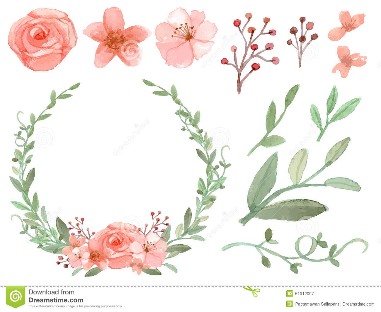 Set Of Flowers And Leaves Vector Stock Vector - Image: 51012097