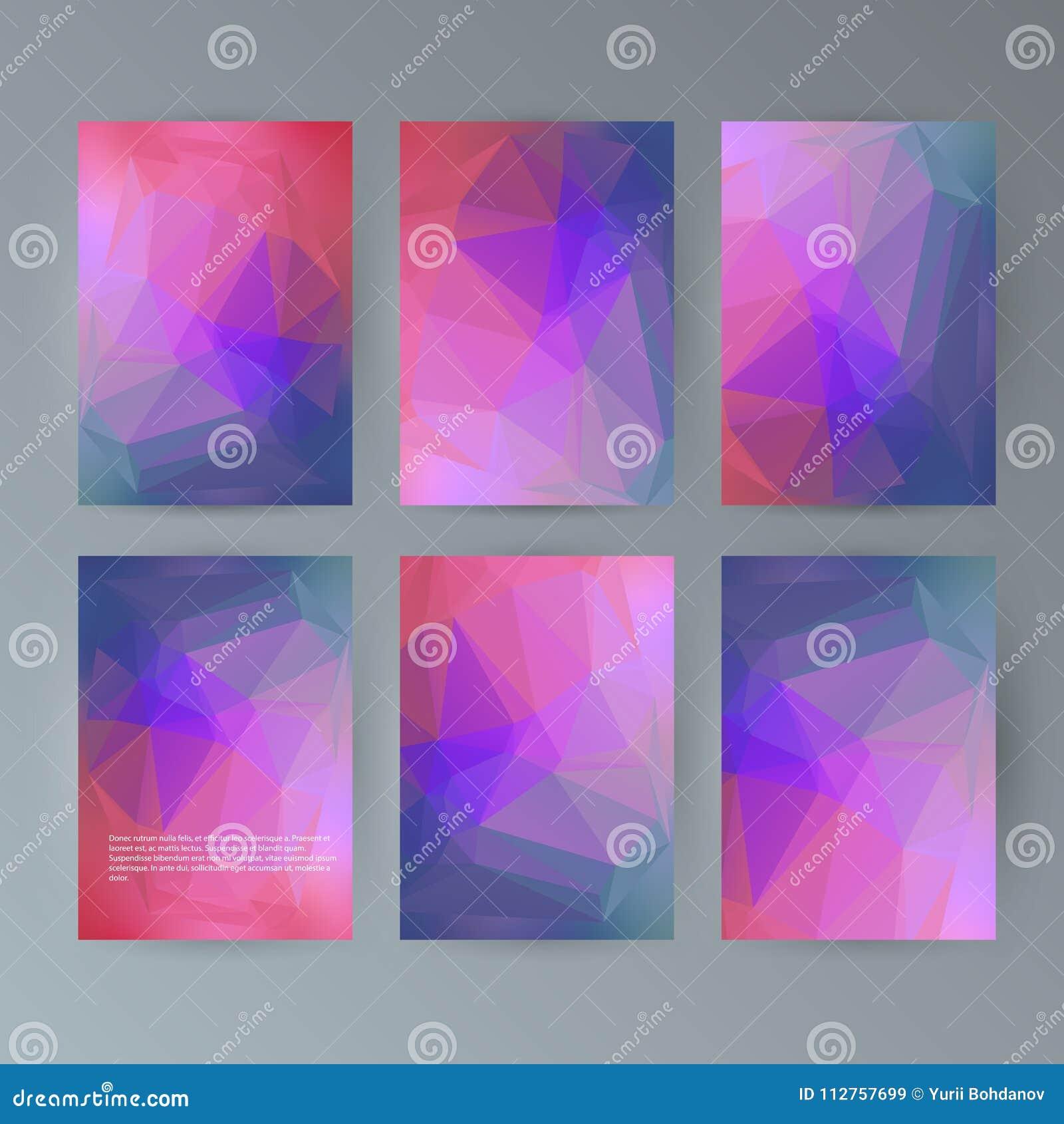 set flyer background modern triangle design21 stock vector