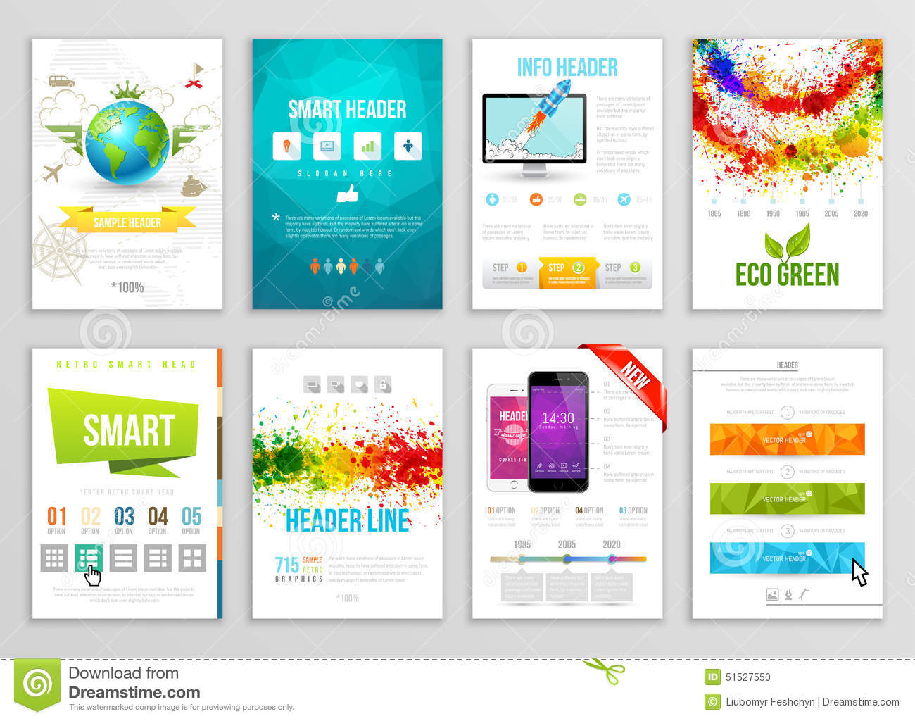 Set of flyer brochure background banner designs vector poster set of flyer brochure background banner designs vector poster templates paint wajeb