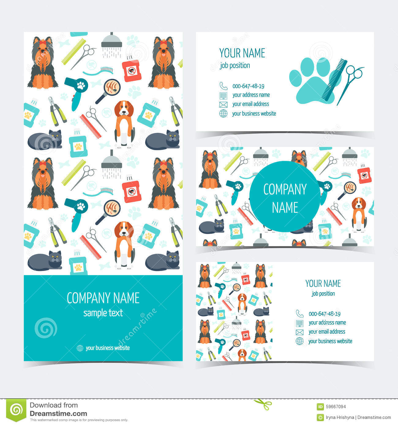 Set of flyer brochure and business cards for animal grooming pet set of flyer brochure and business cards for animal grooming pet care set of promotional products flat design vector illustration 59667094 megapixl colourmoves Choice Image