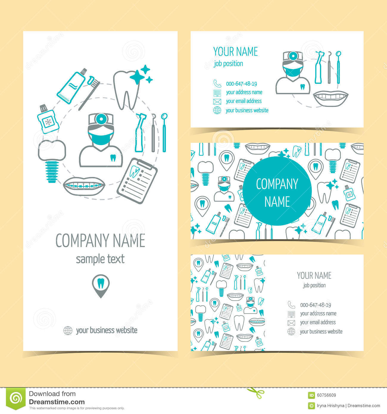 Set Of Flyer, Brochure And Business Cards For Dental Clinic. Dental ...