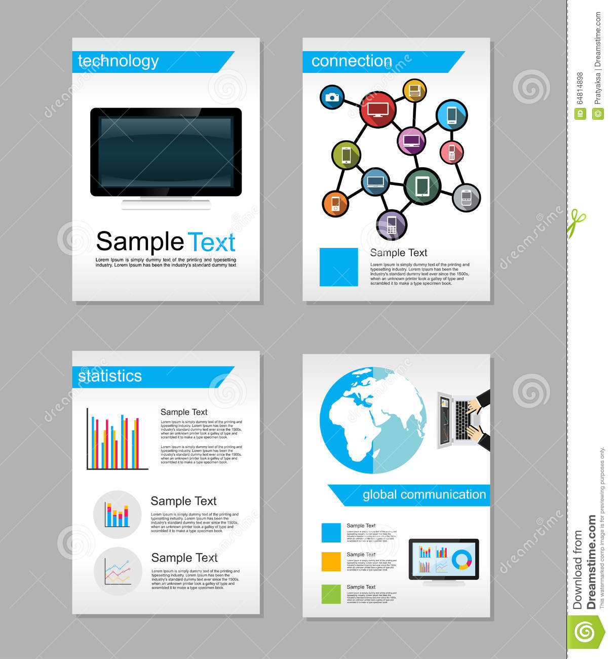 Set of flyer brochure design templates information for Information brochure template