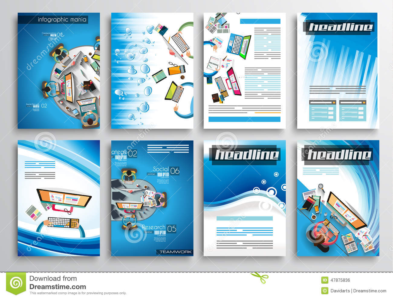 Set of flyer design infographic templates brochure for Infographic brochure template