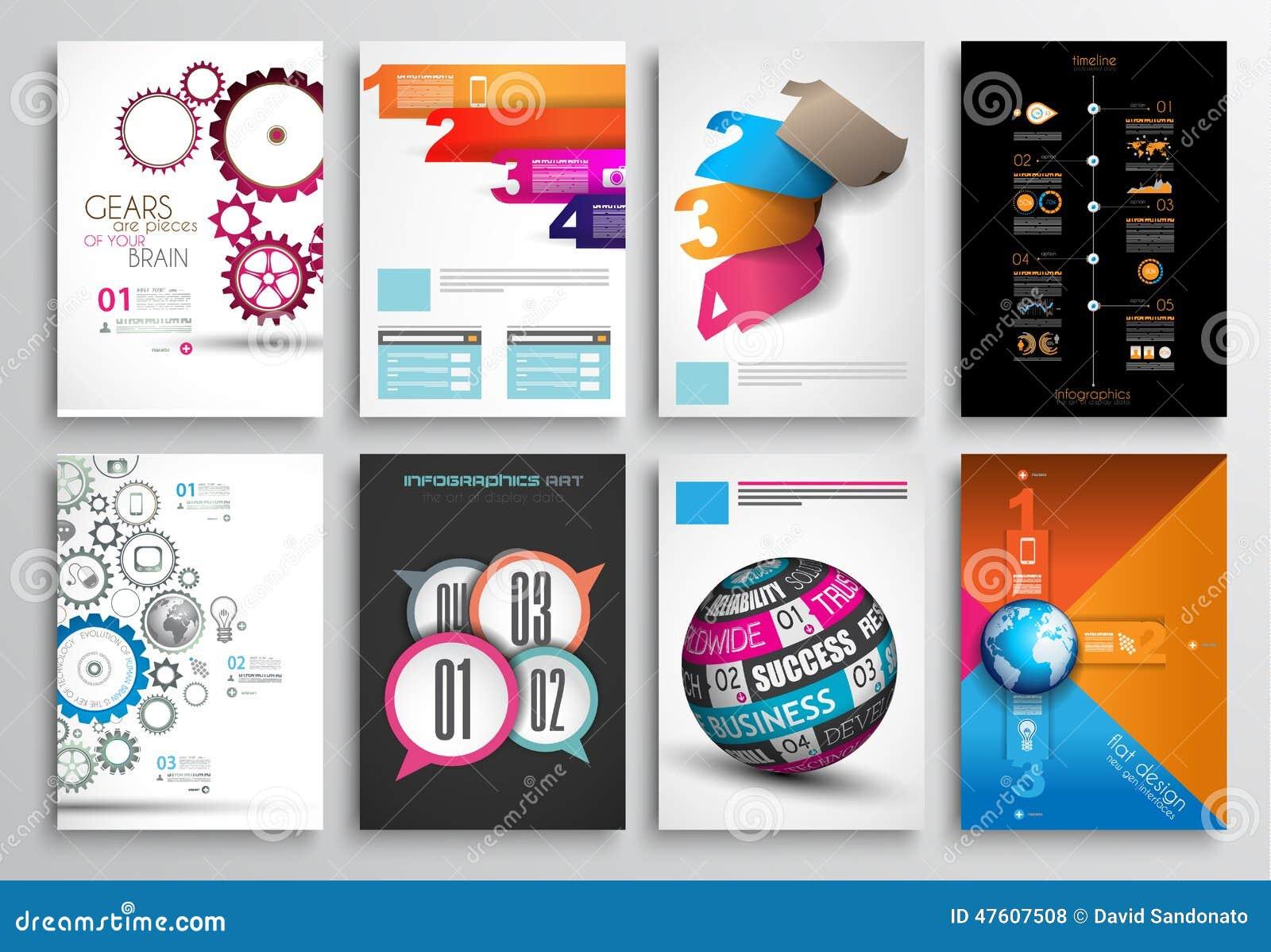 Modern Book Cover Generator ~ Set of flyer design infographics brochure designs stock