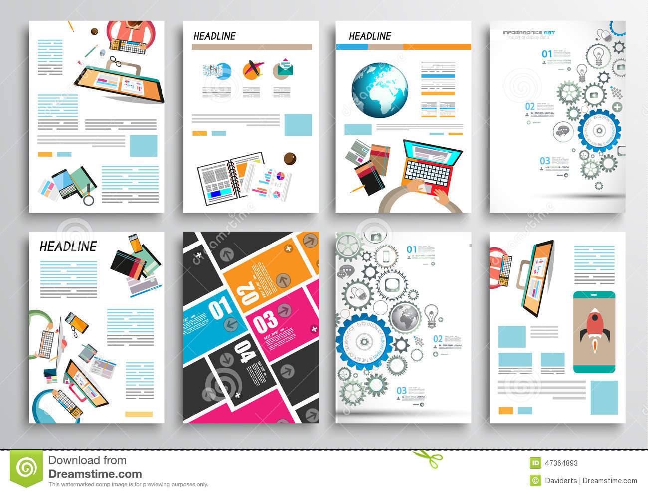 Set Of Flyer Design, Web Templates. Brochure Designs, Infographics  Backgrounds Illustration 47364893   Megapixl