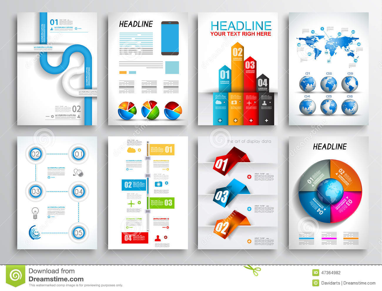 Set Of Flyer Design Web Templates Brochure Designs Infographics - Brochure website templates