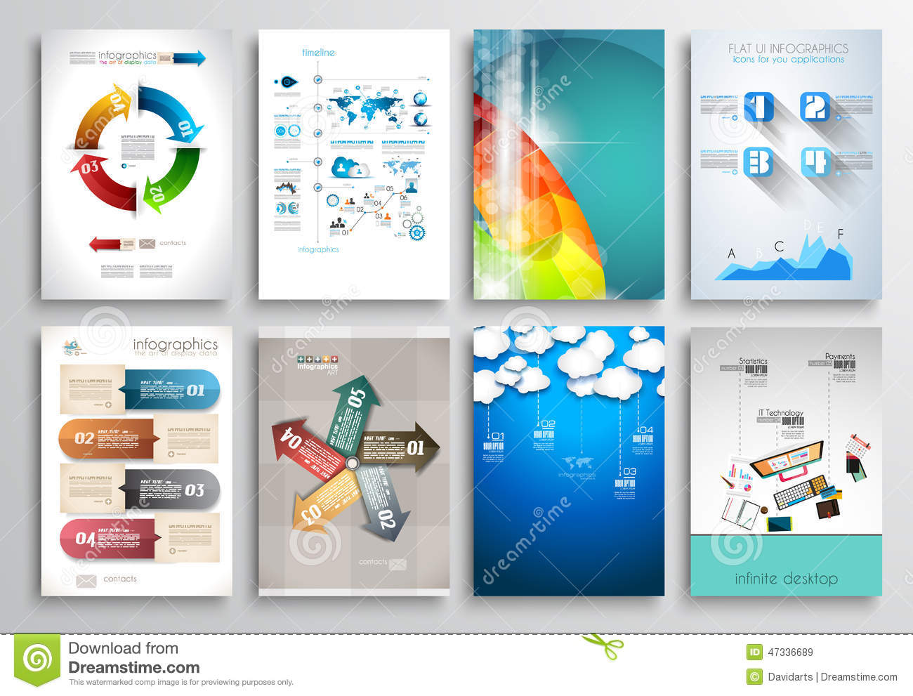 Set of flyer design web templates brochure designs stock for Web brochure templates