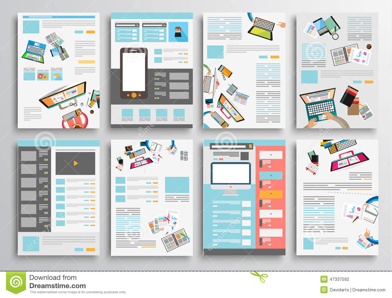 Set Of Flyer Design Web Templates Brochure Designs Illustration - Brochure website templates