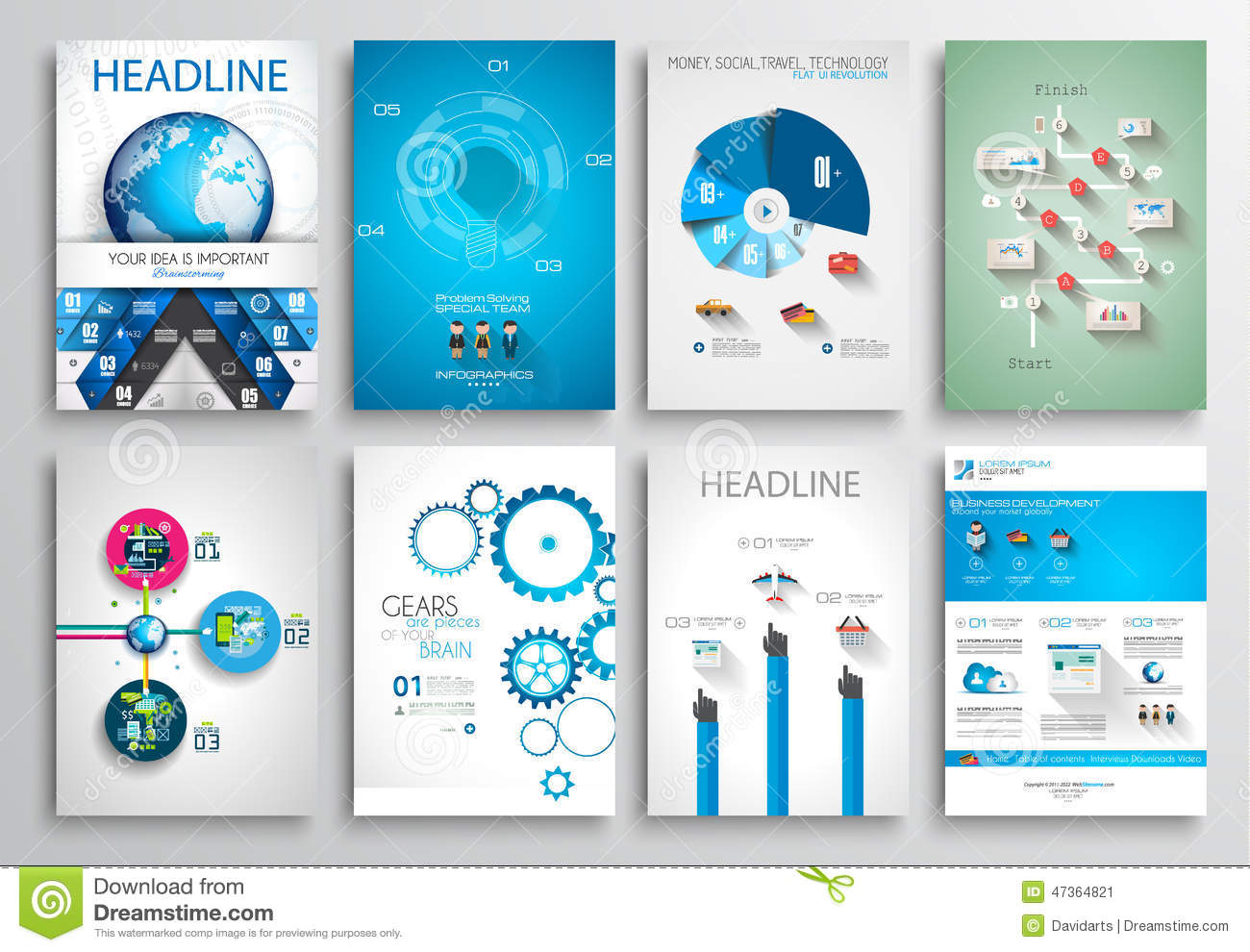 Set Of Flyer Design Web Templates Brochure Designs Stock Vector - Technology brochure template