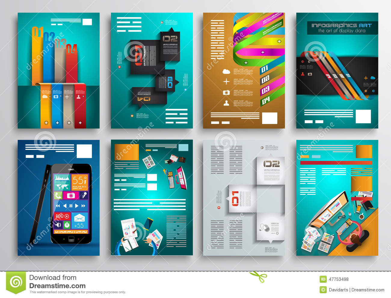 Set Of Flyer Design Web Templates Brochure Designs Stock Vector - Brochure website templates