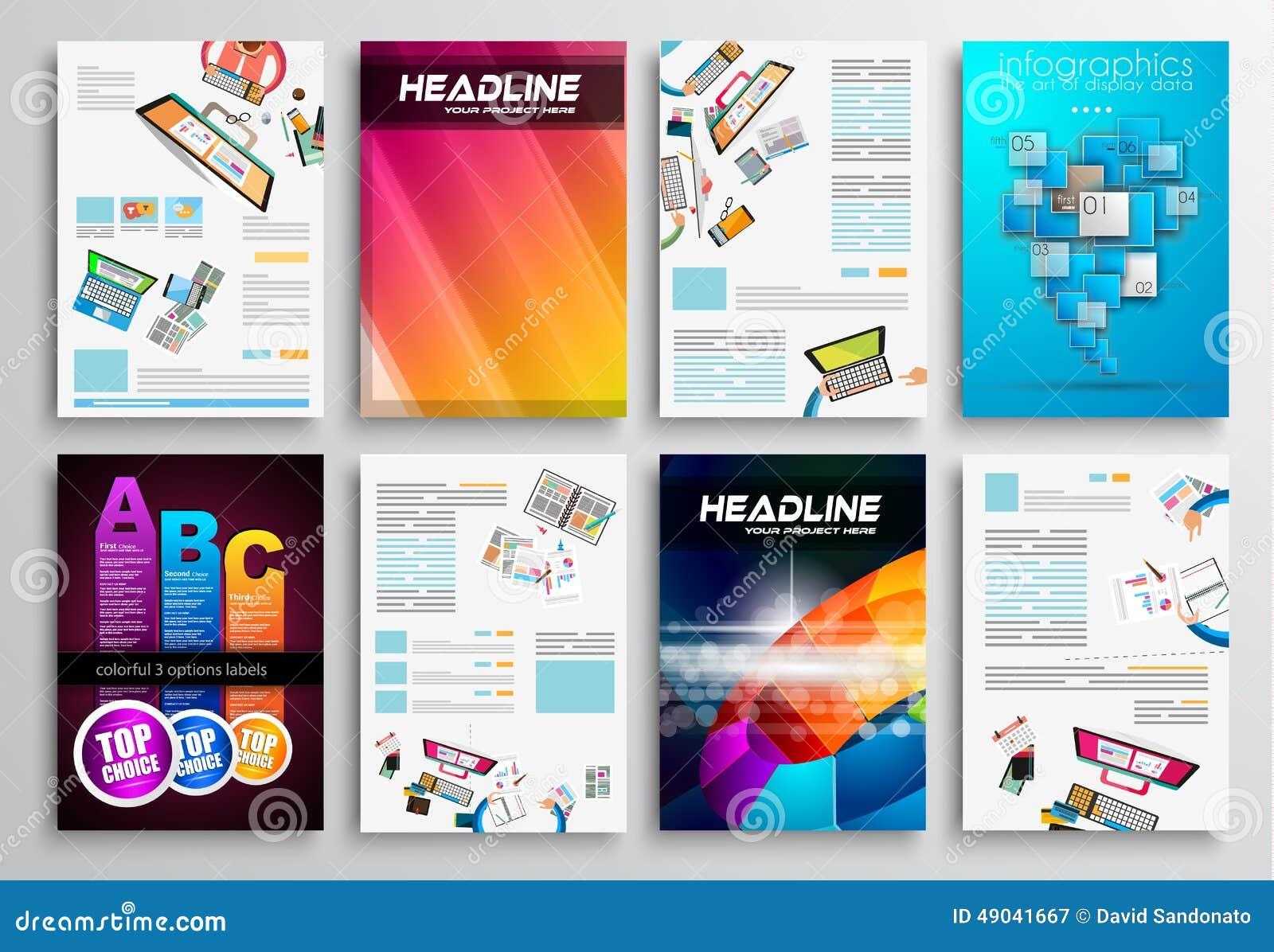 set of flyer design web templates brochure designs stock vector