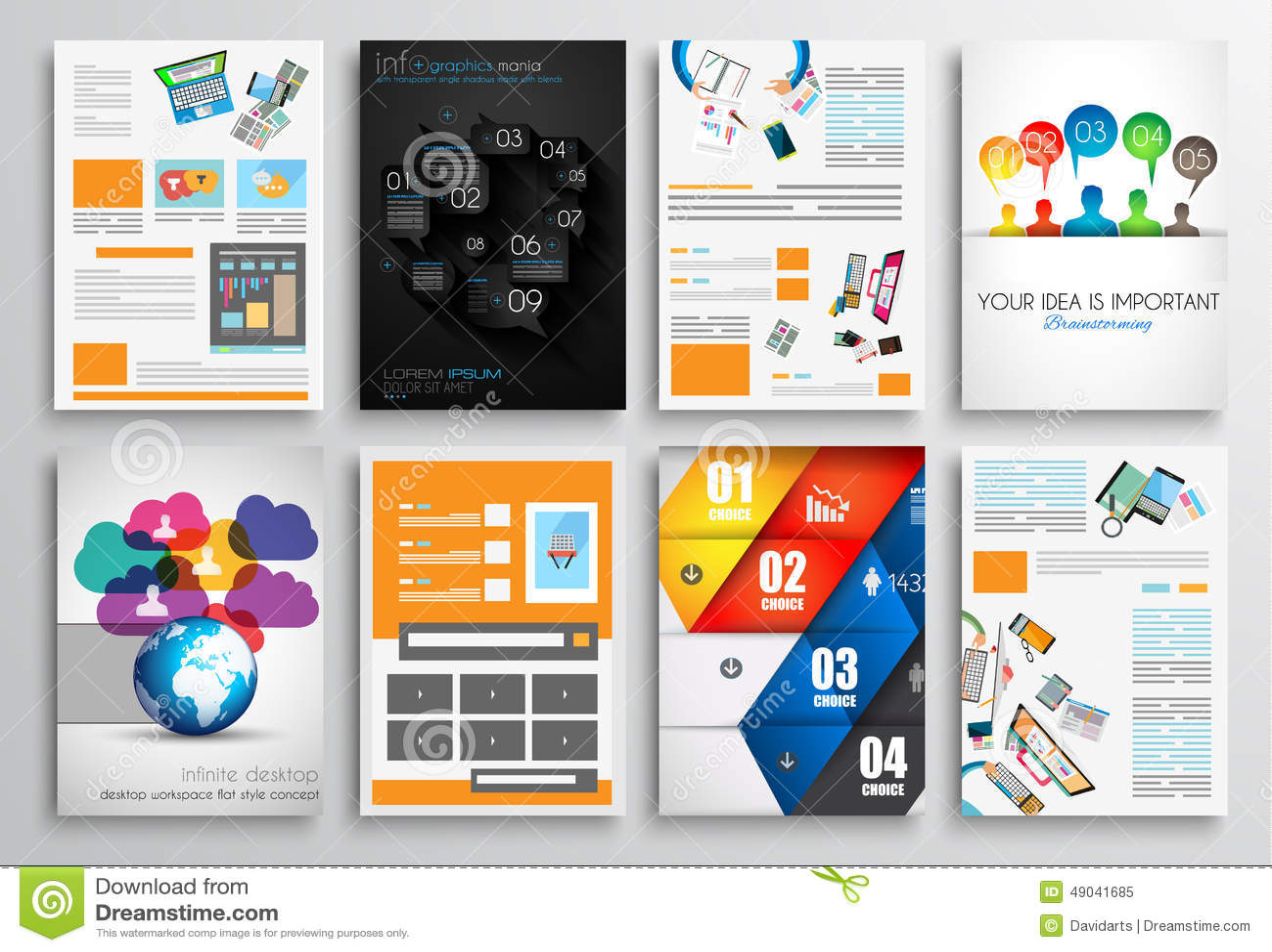 Set of flyer design web templates brochure designs stock for Technology brochure template