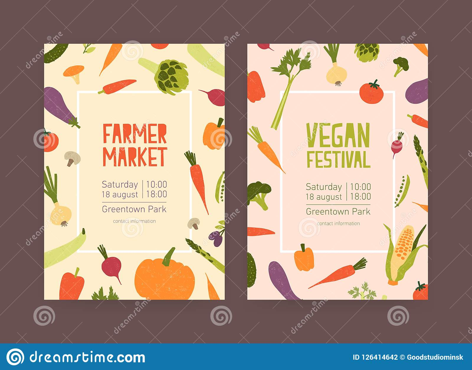 Set Of Flyer Or Invitation Templates For Farmer Market And Vegan