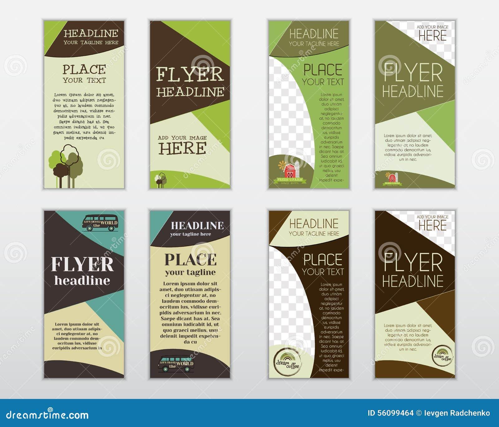 set of flyer layout templates organic farm fresh stock vector