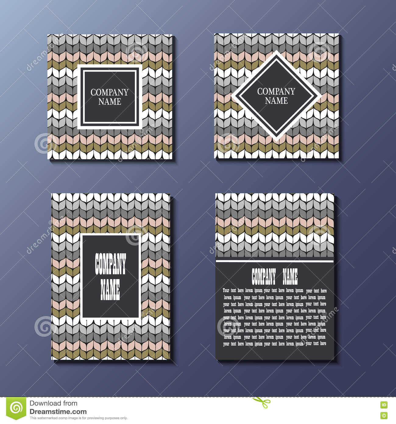set of flyer template with knitting pattern stock vector