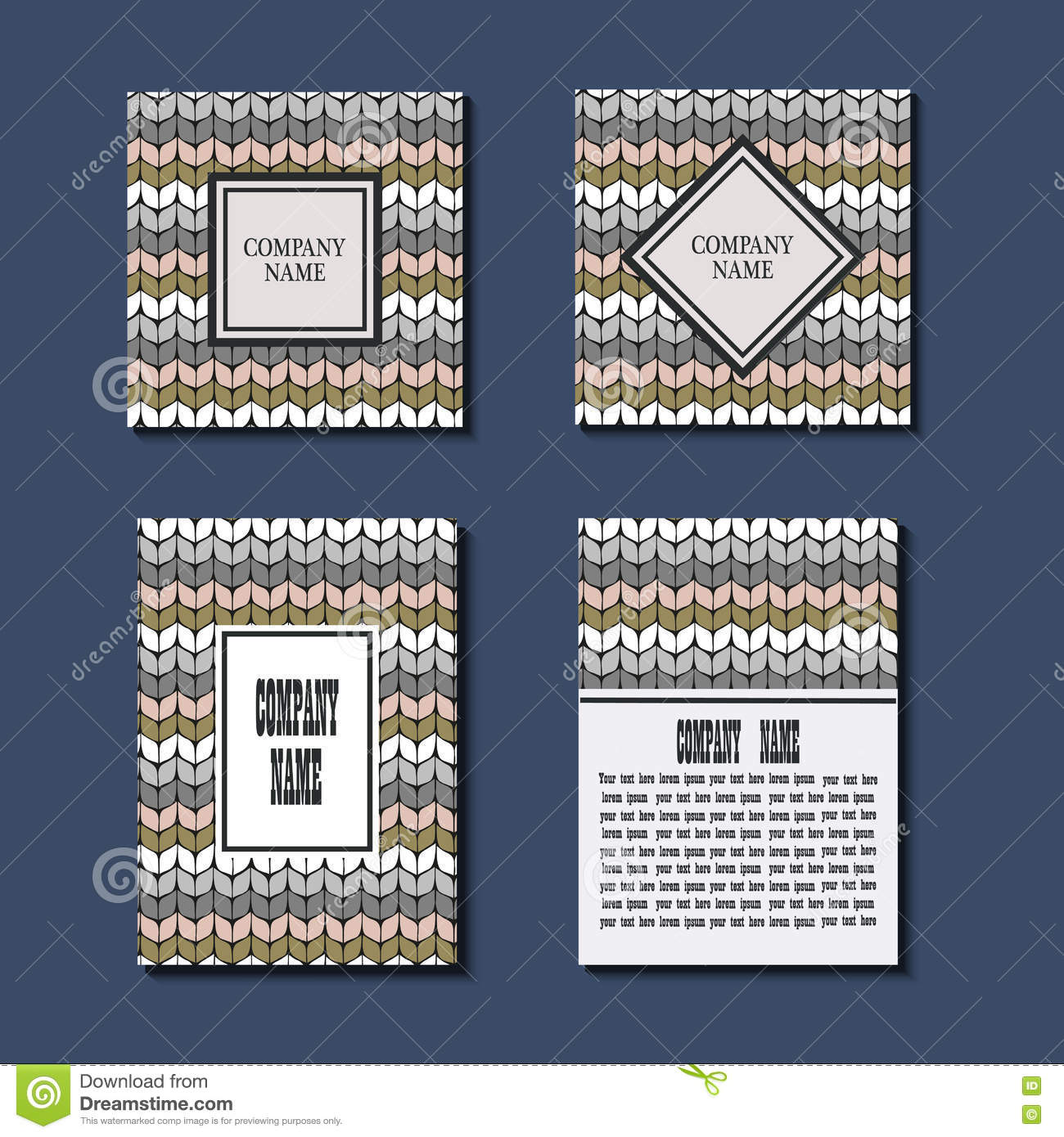 Set Of Flyer Template With Knitting Pattern. Greeting Card Design ...