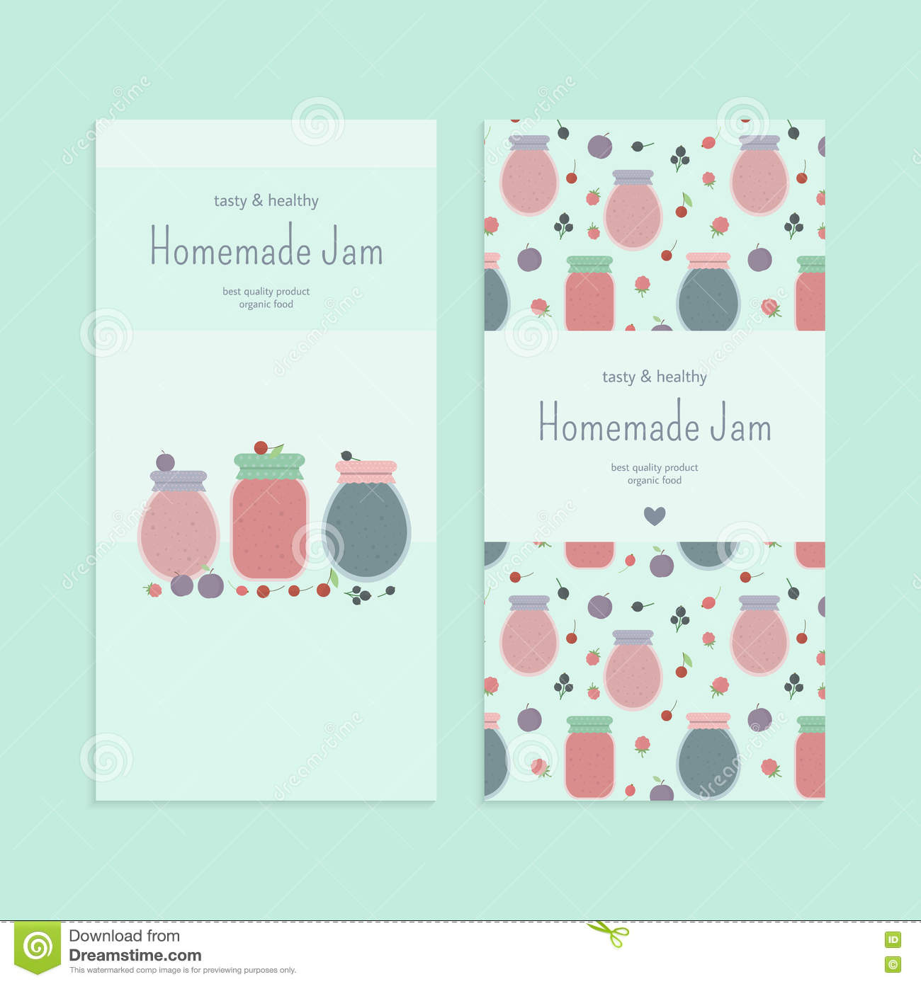 Homemade fruit and berry jam in glass jars banners, flyers template set. illustration