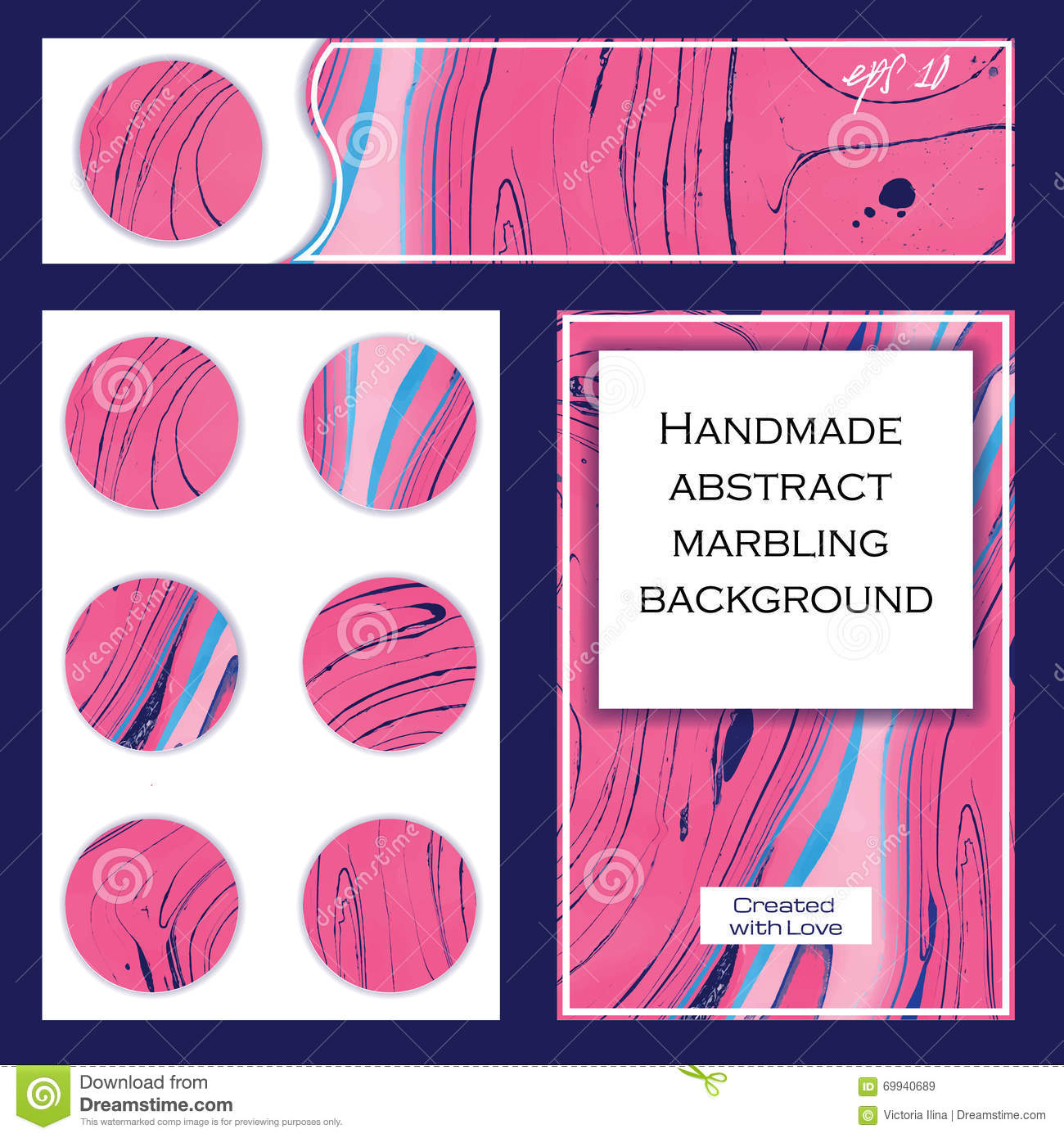 set of flyer templates pink abstract marbling background stock