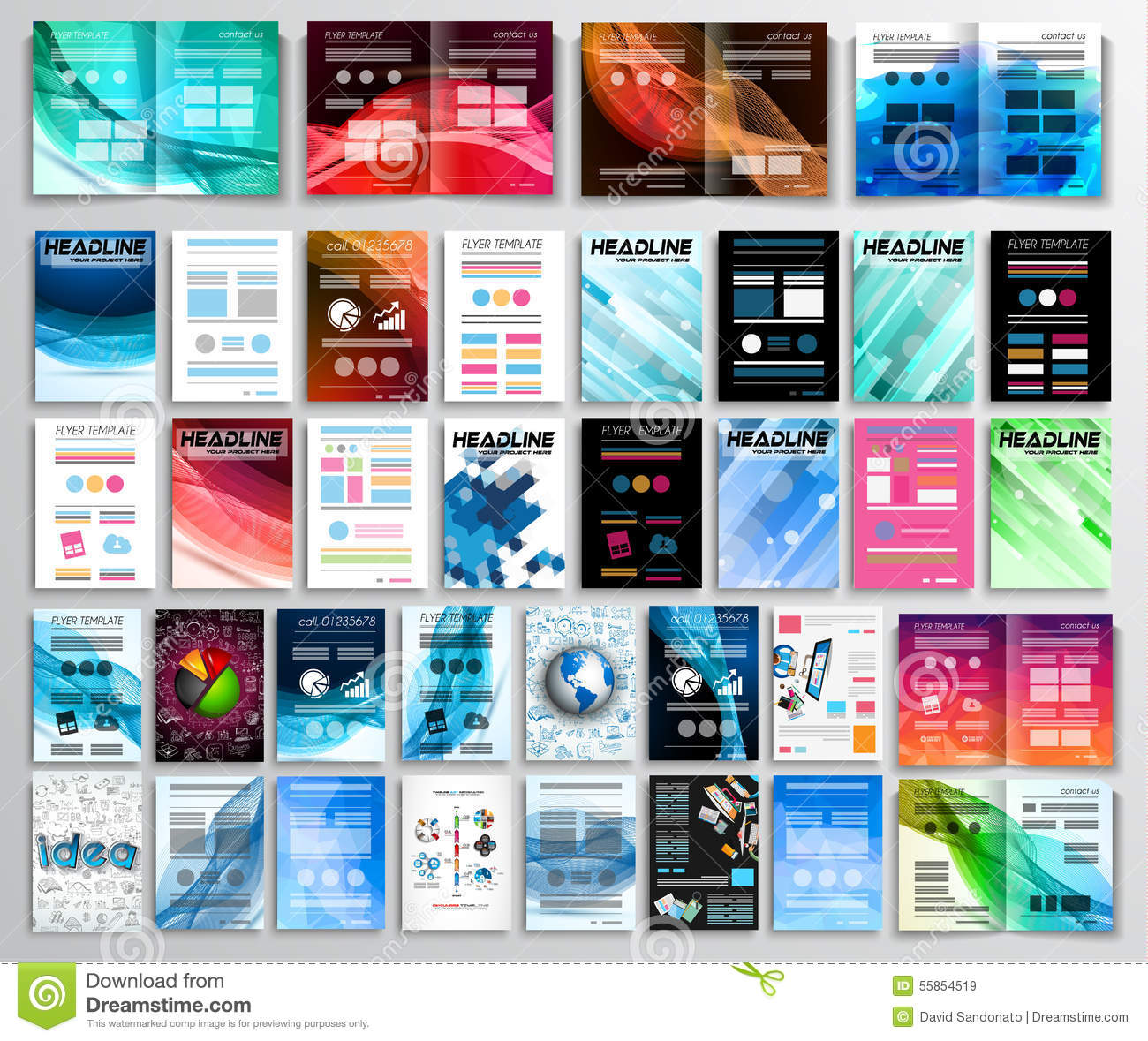 set of flyers background infographics brochures business cards