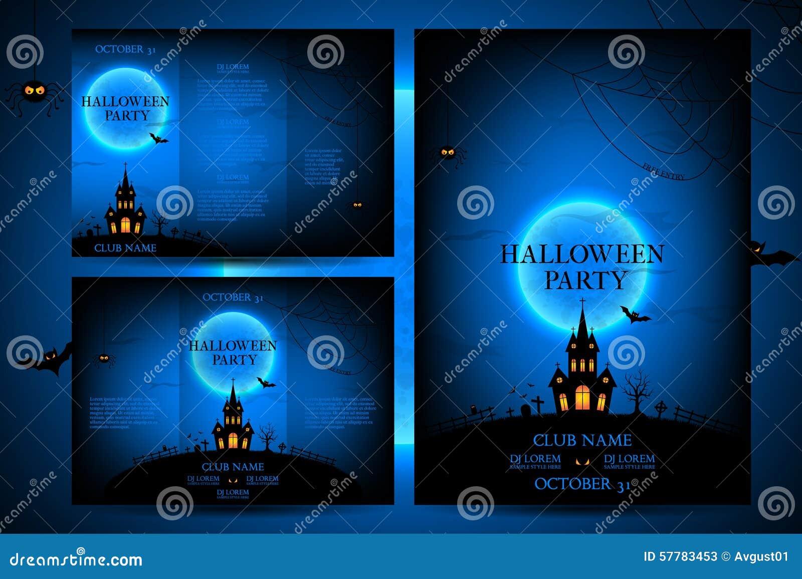 Set Of Flyers For Halloween Vector Illustration Stock Vector
