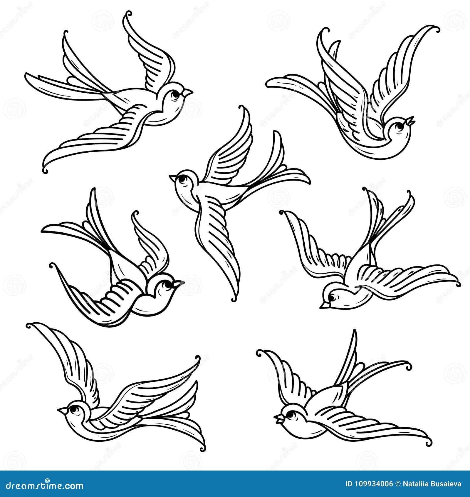 Set Of Flying Bluebirds Free Birdssymbol Of Hope Stock