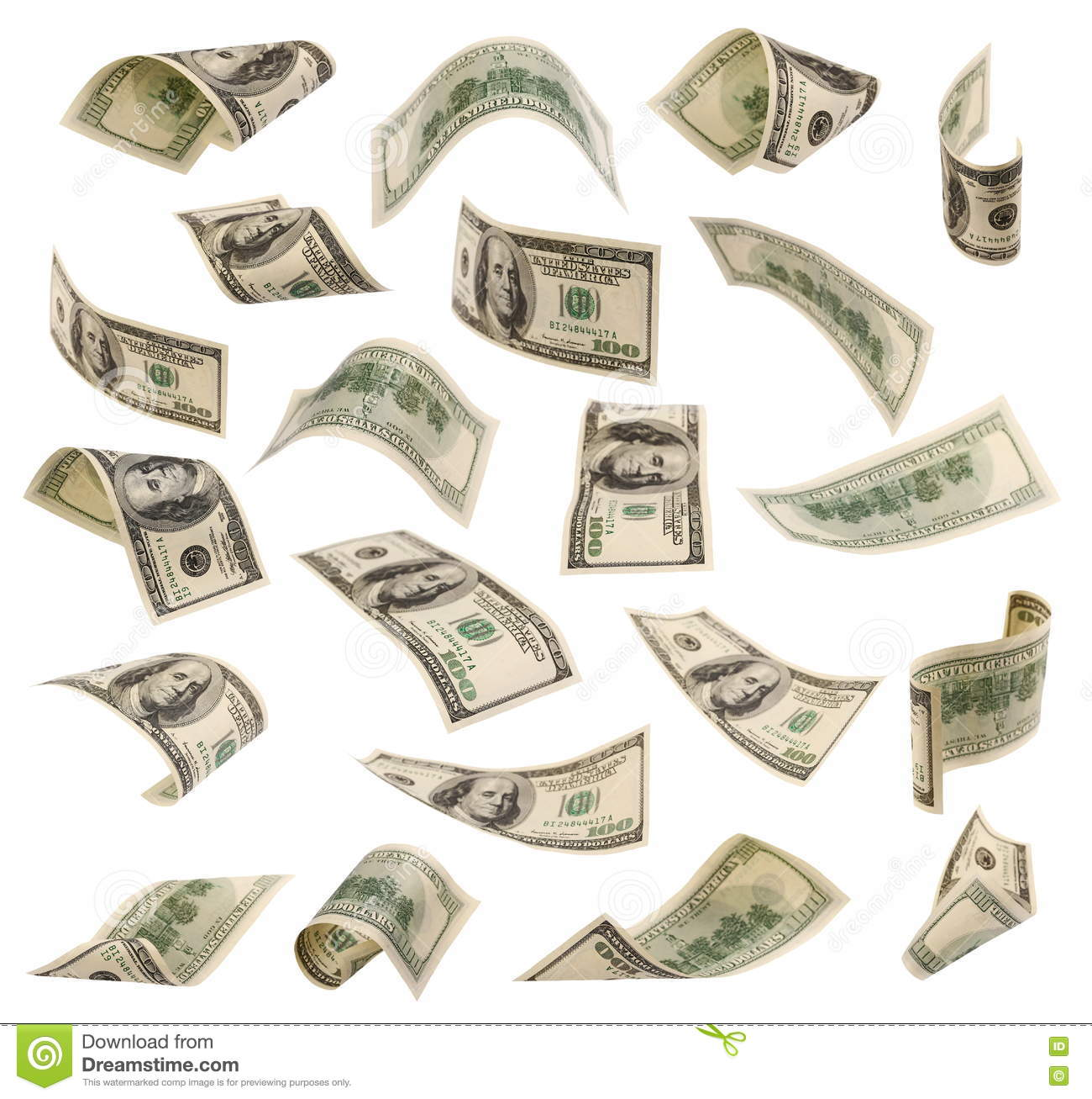 Download Set Of Flying Hundred Dollars Banknotes Isolated On White Stock Image - Image of dollars, gift: 74067575