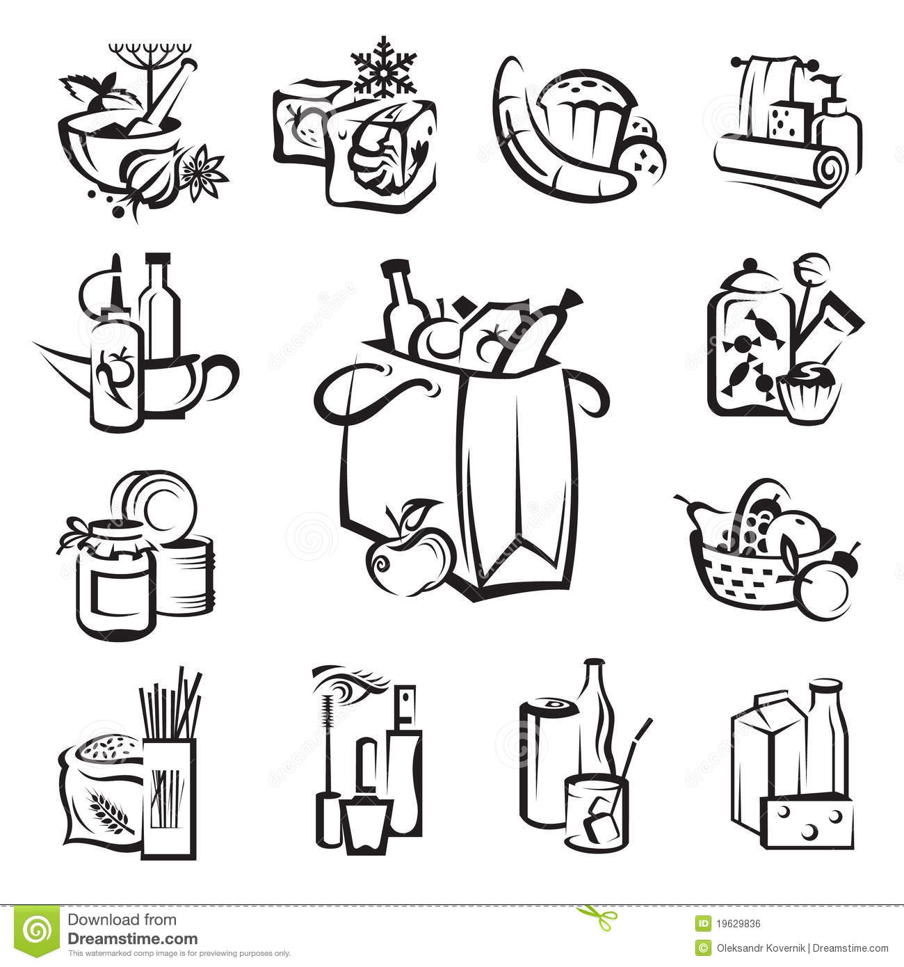 Set of food and goods icons