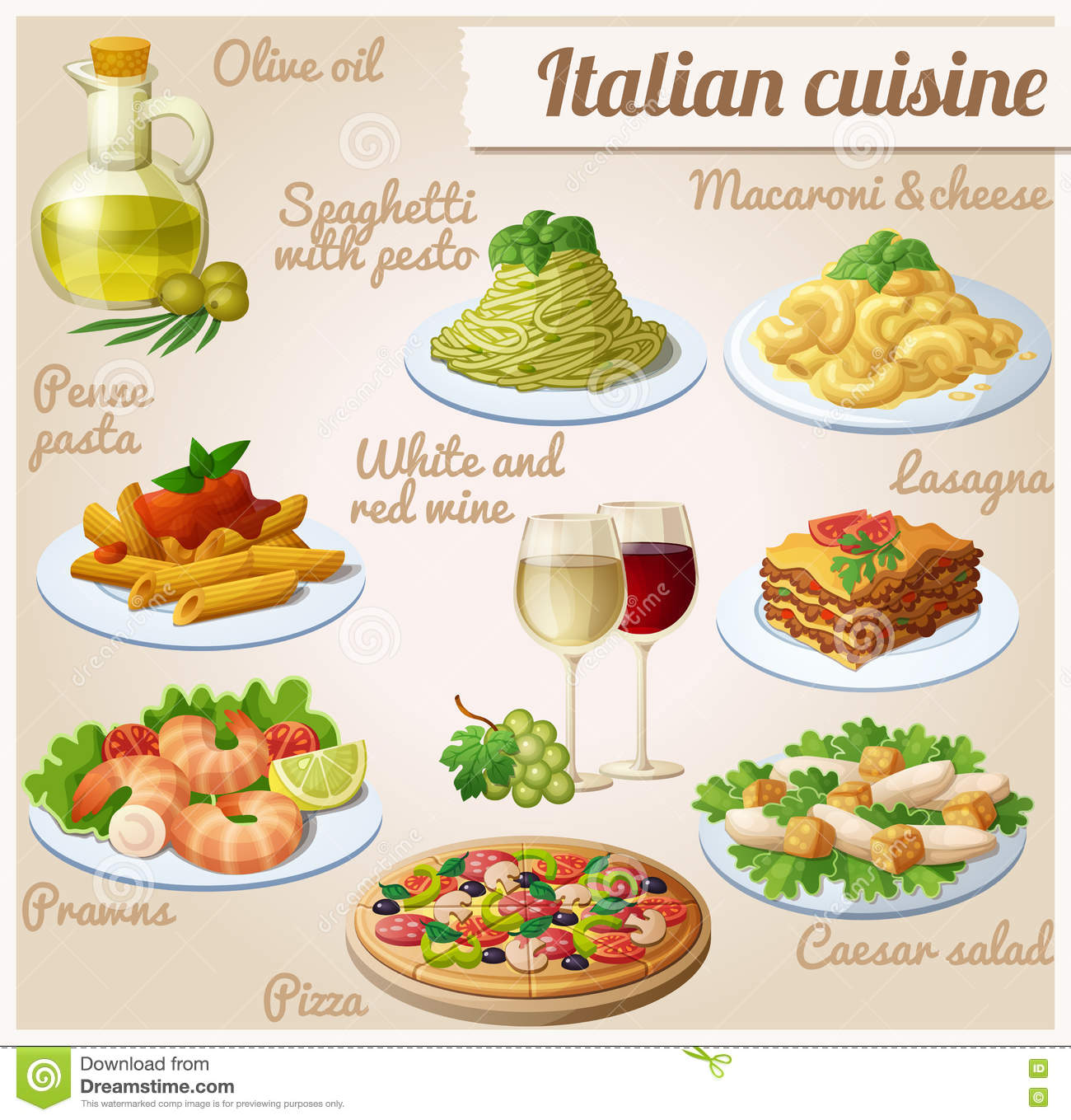 Set of food icons italian cuisine spaghetti with pesto for About italian cuisine