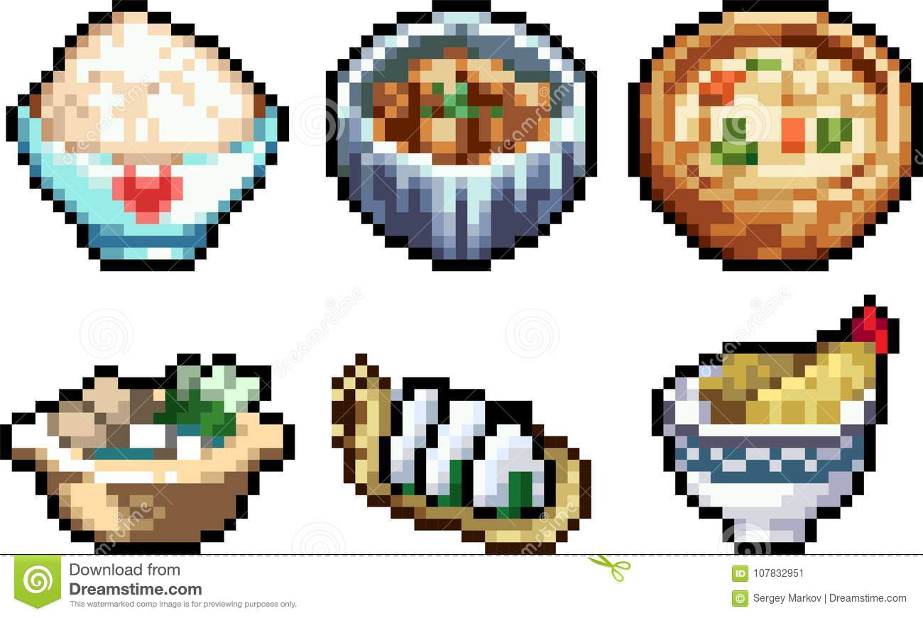Set Of Food Icons In Pixel Art Style Stock Vector Illustration Of Dinner Abstract 107832951
