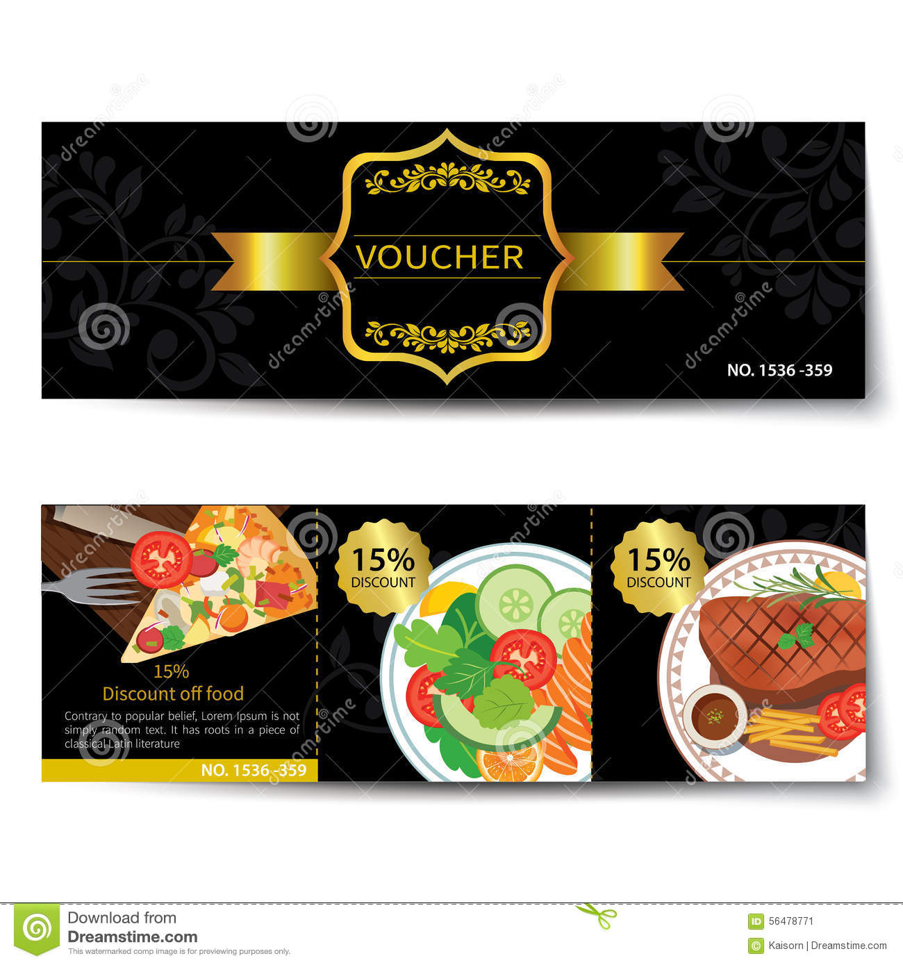 set of food voucher discount template design stock vector image 56478771. Black Bedroom Furniture Sets. Home Design Ideas