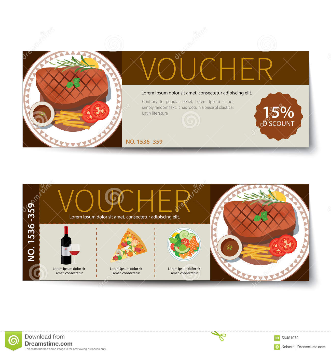 Set of food voucher discount template design stock vector for Free meal coupon template