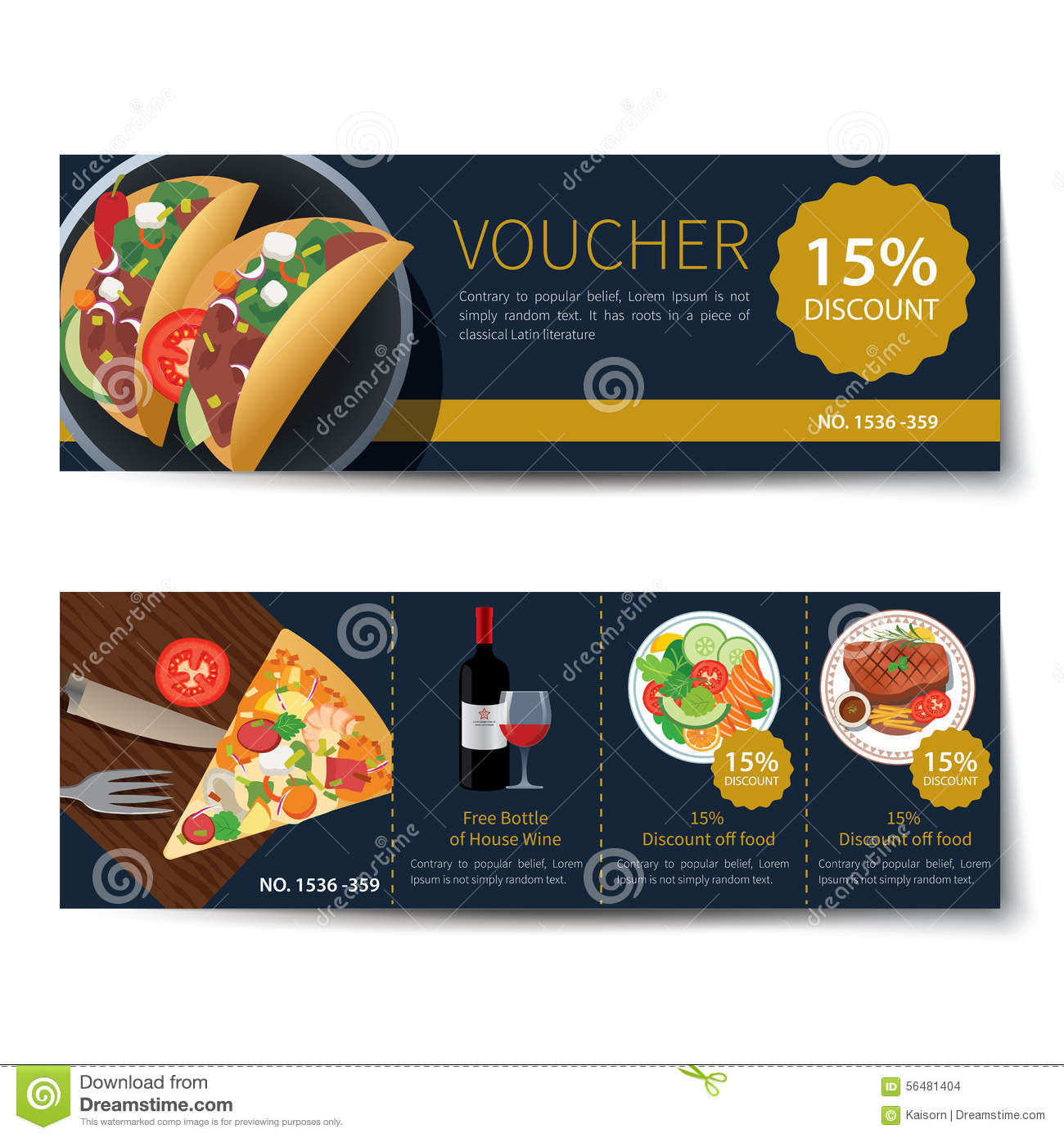 Set Of Food Voucher Discount Template Design  Lunch Voucher Template