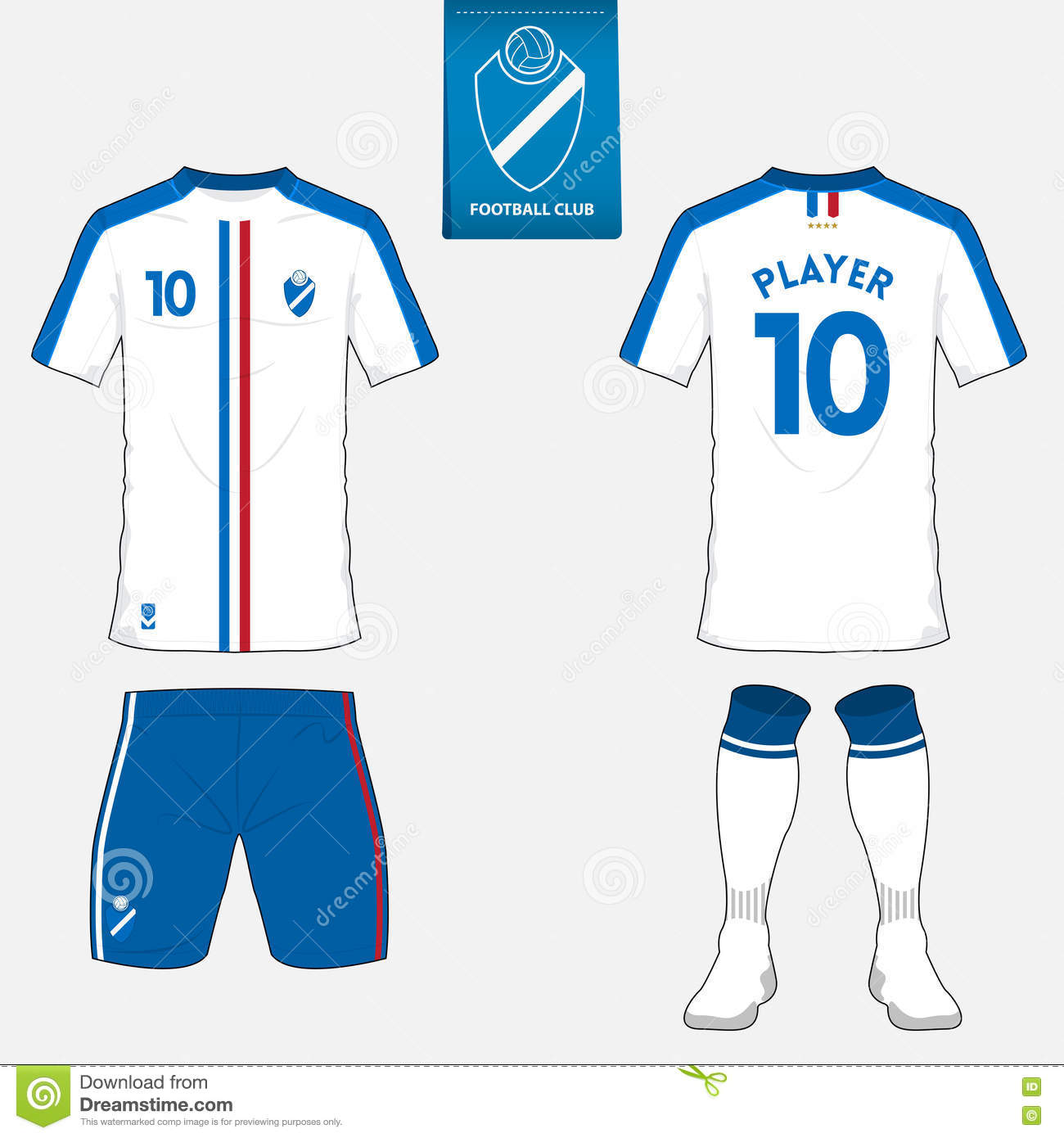 Set Of Soccer Kit Or Football Jersey Template For Club Flat Logo On Blue Label Front And Back View Apparel Mock Up