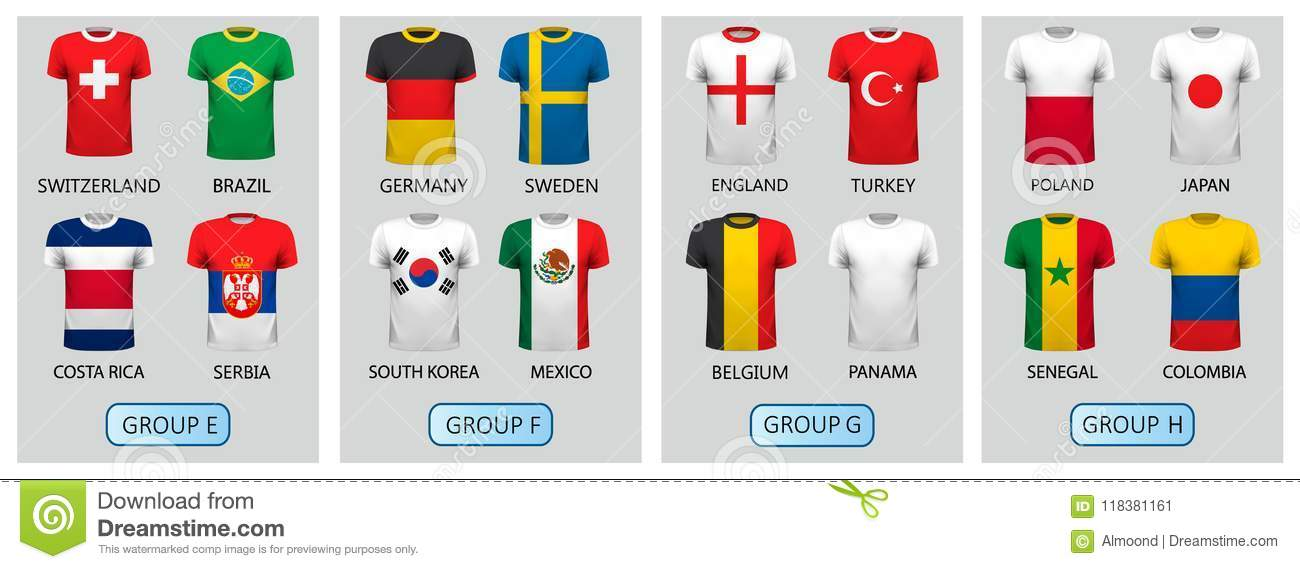 ee90f3e7697 Set of football jerseys for 2018 soccer championship cup. Royalty-Free  Vector