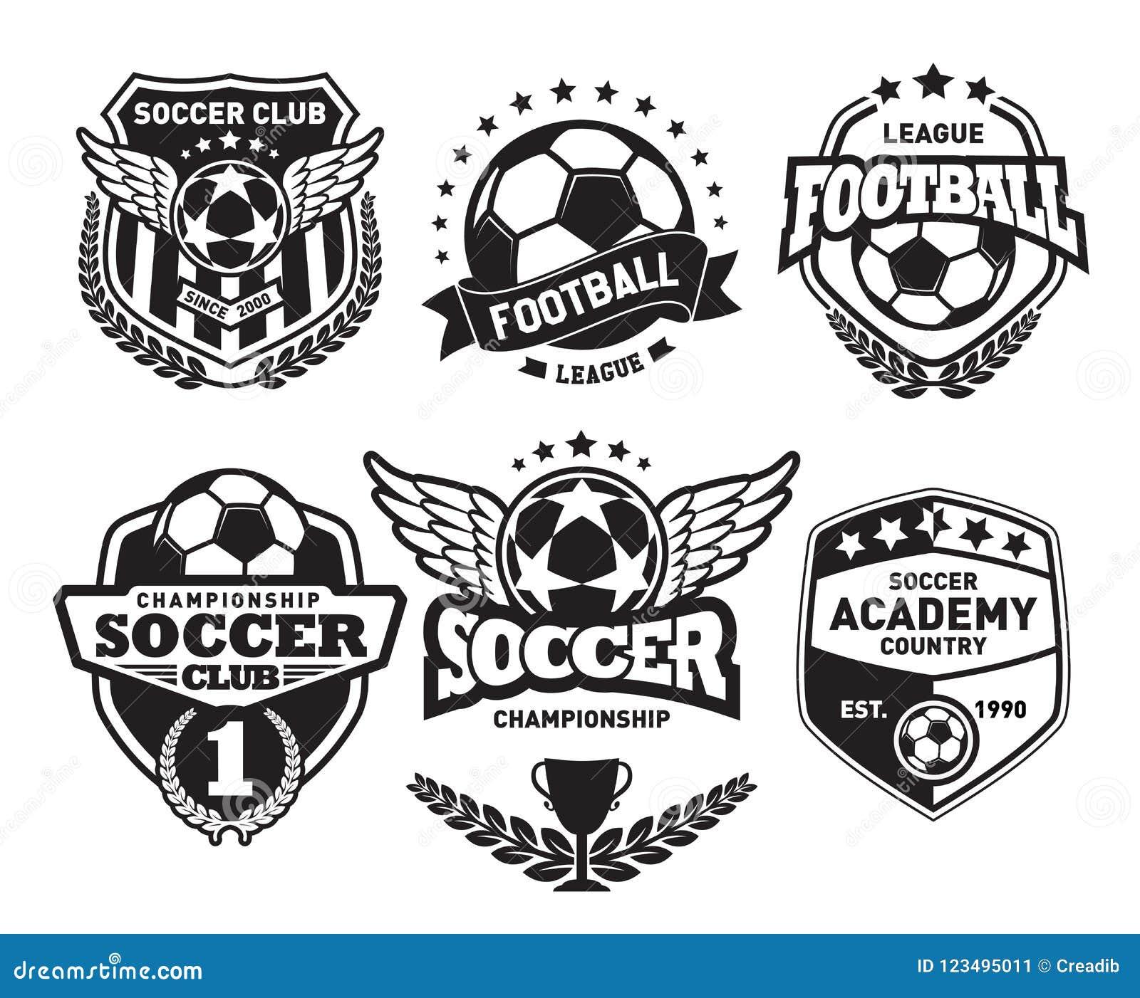 set of football logo design templates, soccer vintage badge stock vector -  illustration of emblem, game: 123495011  dreamstime.com