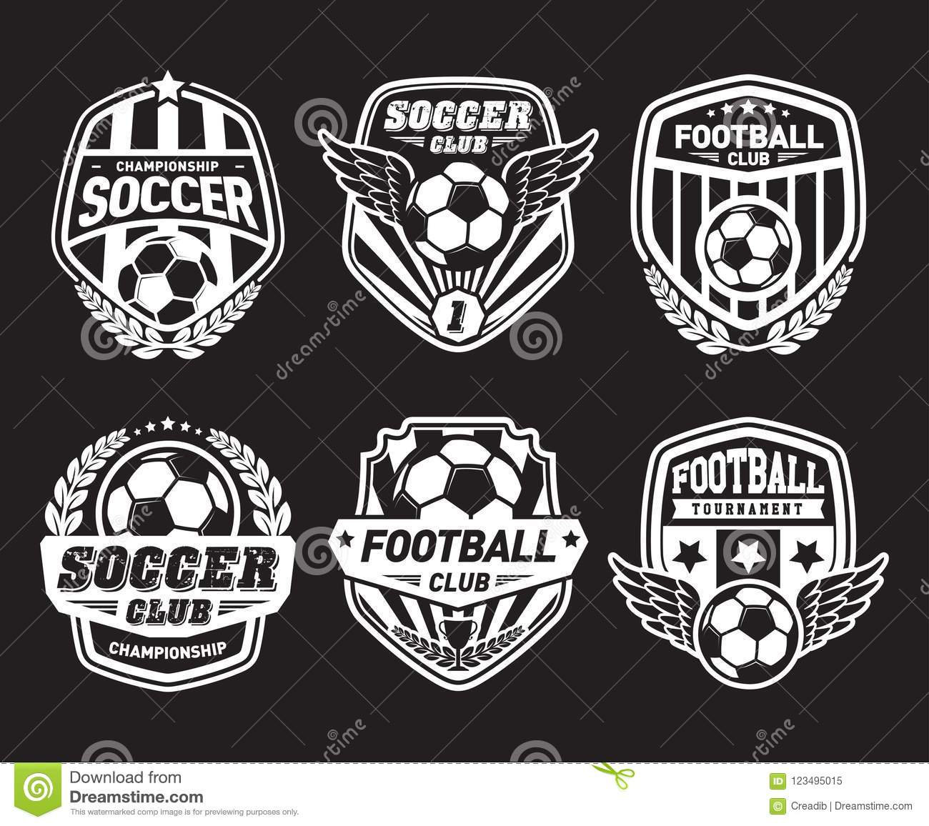 Set Of Football Logo Design Templates Soccer Vintage Badge Stock