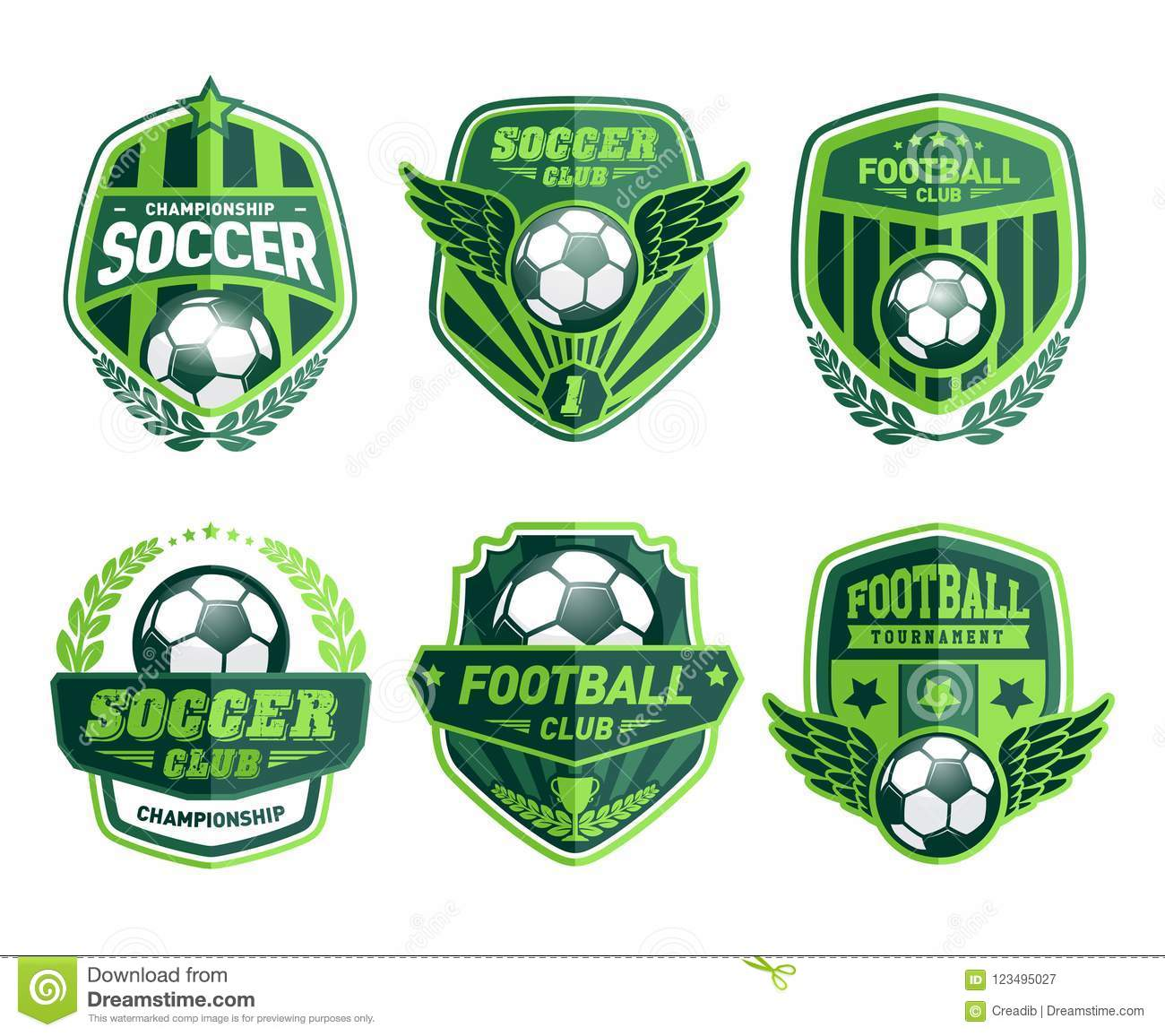 Set Of Football Logo Design Templates Soccer Vintage Green Badge