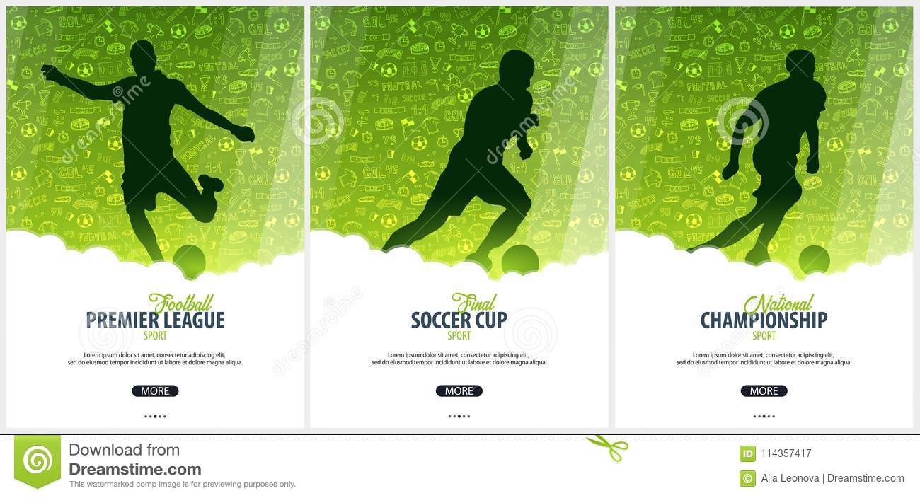 Download Set Of Football Or Soccer Design Posters With Hand Draw Doodle Elements And Player
