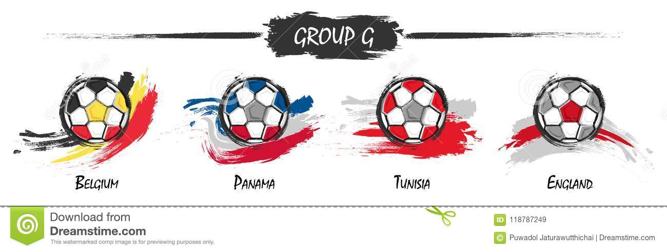 Set of football or soccer national team group G . Watercolor paint art  design . Vector for international world championship tournament cup 2018 . aa475d9fe