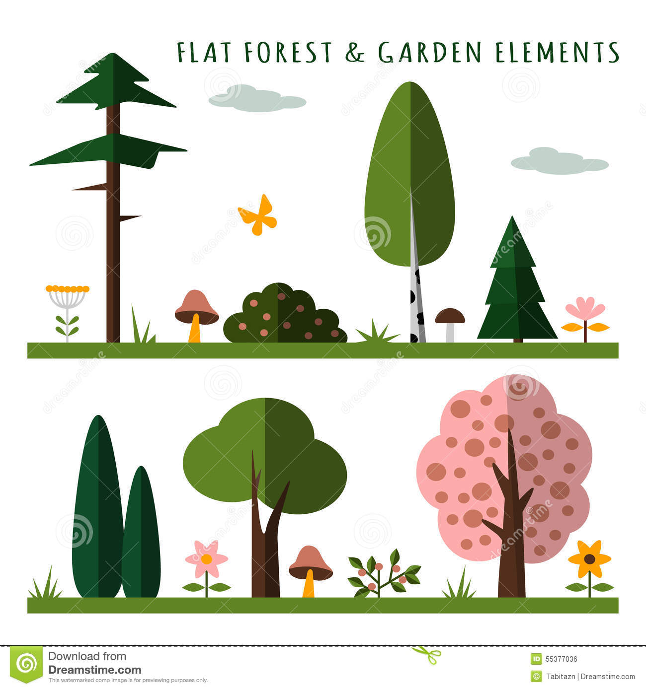 Set Of Forest And Garden Elements Flat Design Isolated