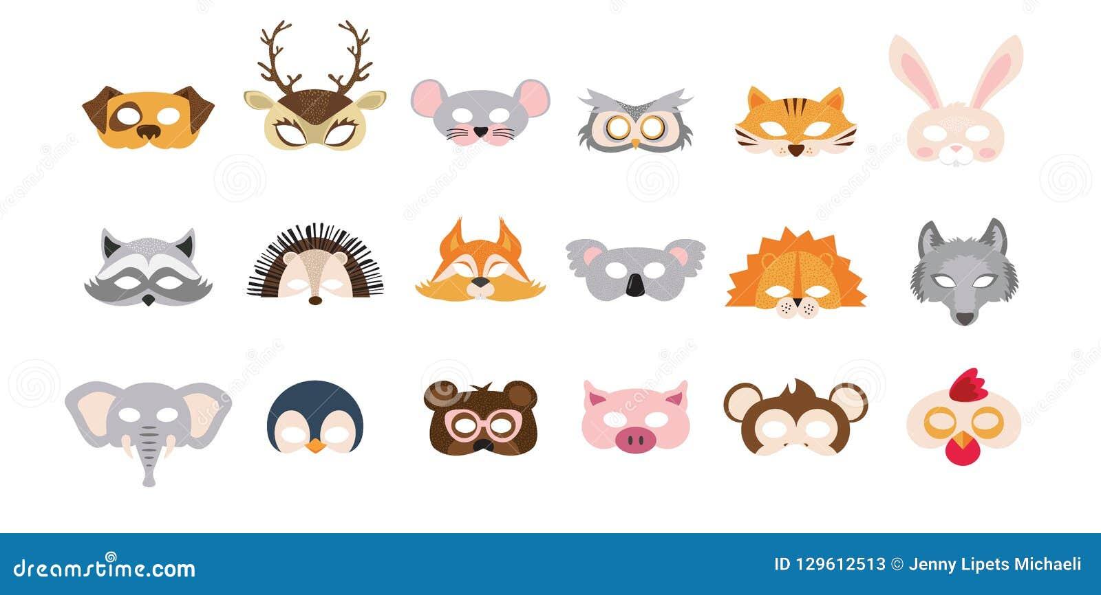 Set fotografii budka podpiera maski dziki i zwierze domowy wielki dla przyjęcia i urodziny również zwrócić corel ilustracji wekto