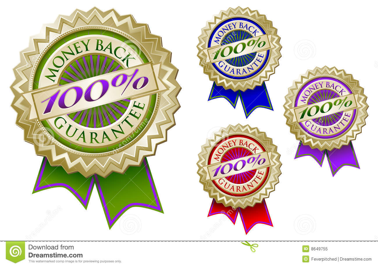 Set of Four 100  Money Back Guarantee Emblem Seals